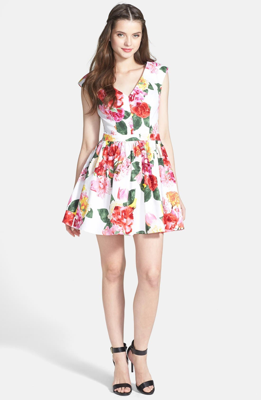 Main Image - Trixxi Floral Fit & Flare Dress (Juniors)