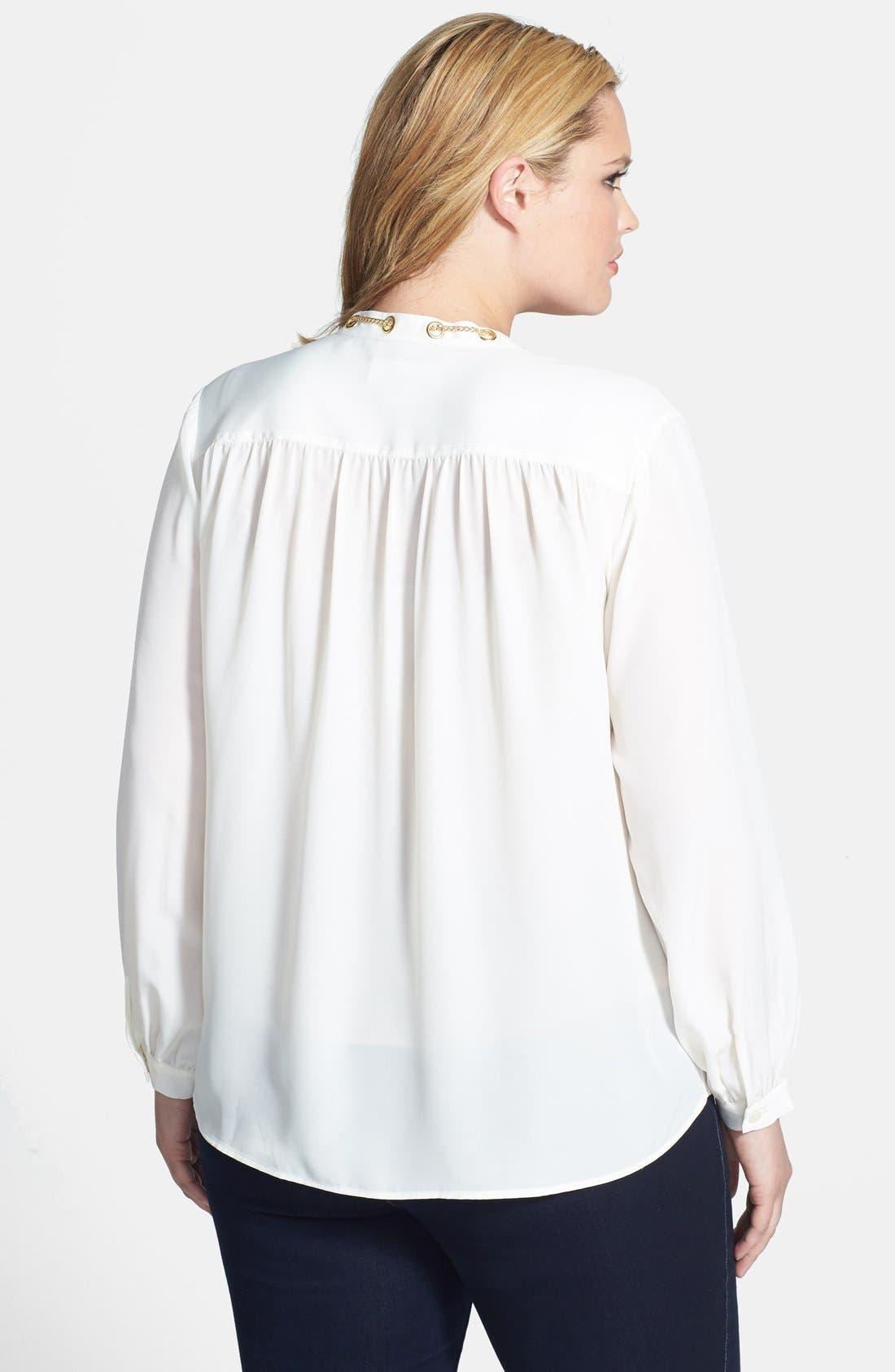 Alternate Image 2  - MICHAEL Michael Kors Chain Trim Blouse (Plus Size)