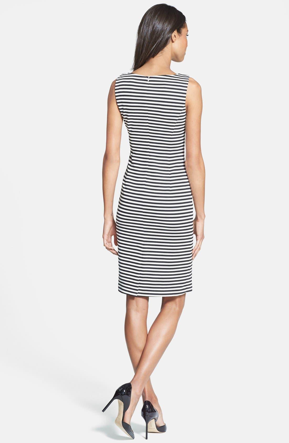 Alternate Image 2  - Isaac Mizrahi New York Stripe Sleeveless Ponte Knit Sheath Dress