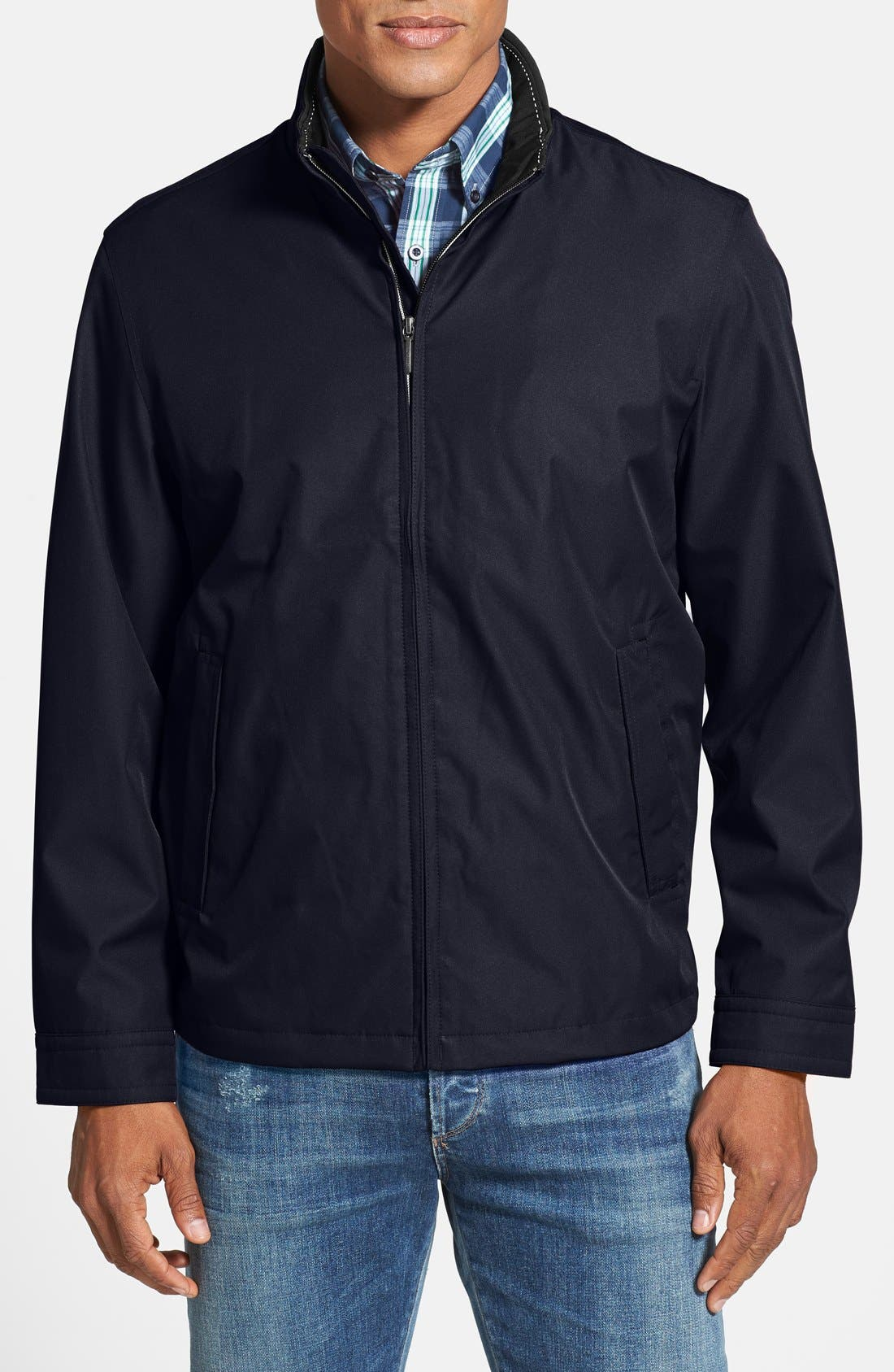 Waterproof & Windproof Bomber,                             Main thumbnail 1, color,                             Midnight