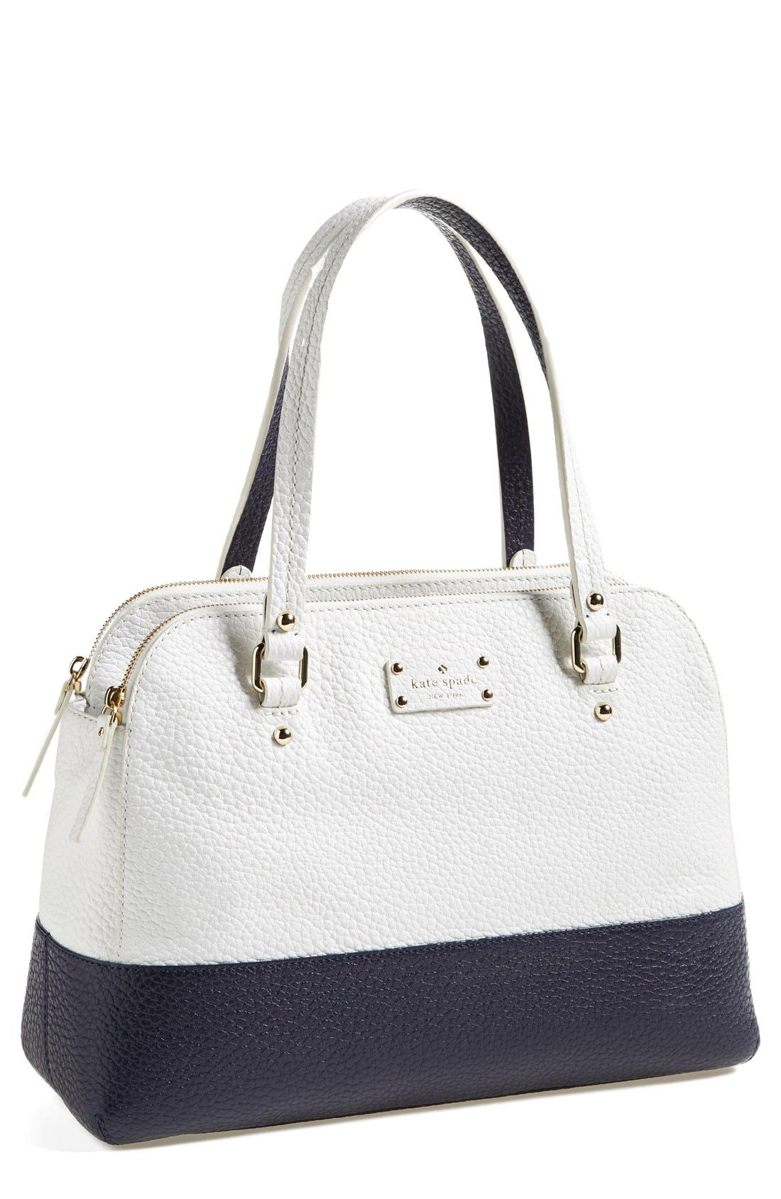 'grove court - lainey' leather tote,                             Main thumbnail 1, color,                             Fresh White/ Midnight