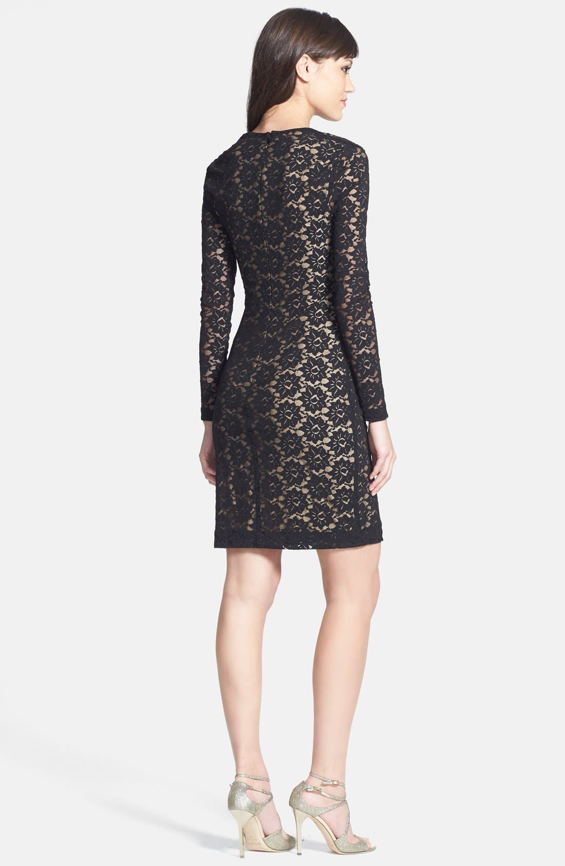 Alternate Image 2  - Nicole Miller Stretch Lace Body-Con Dress