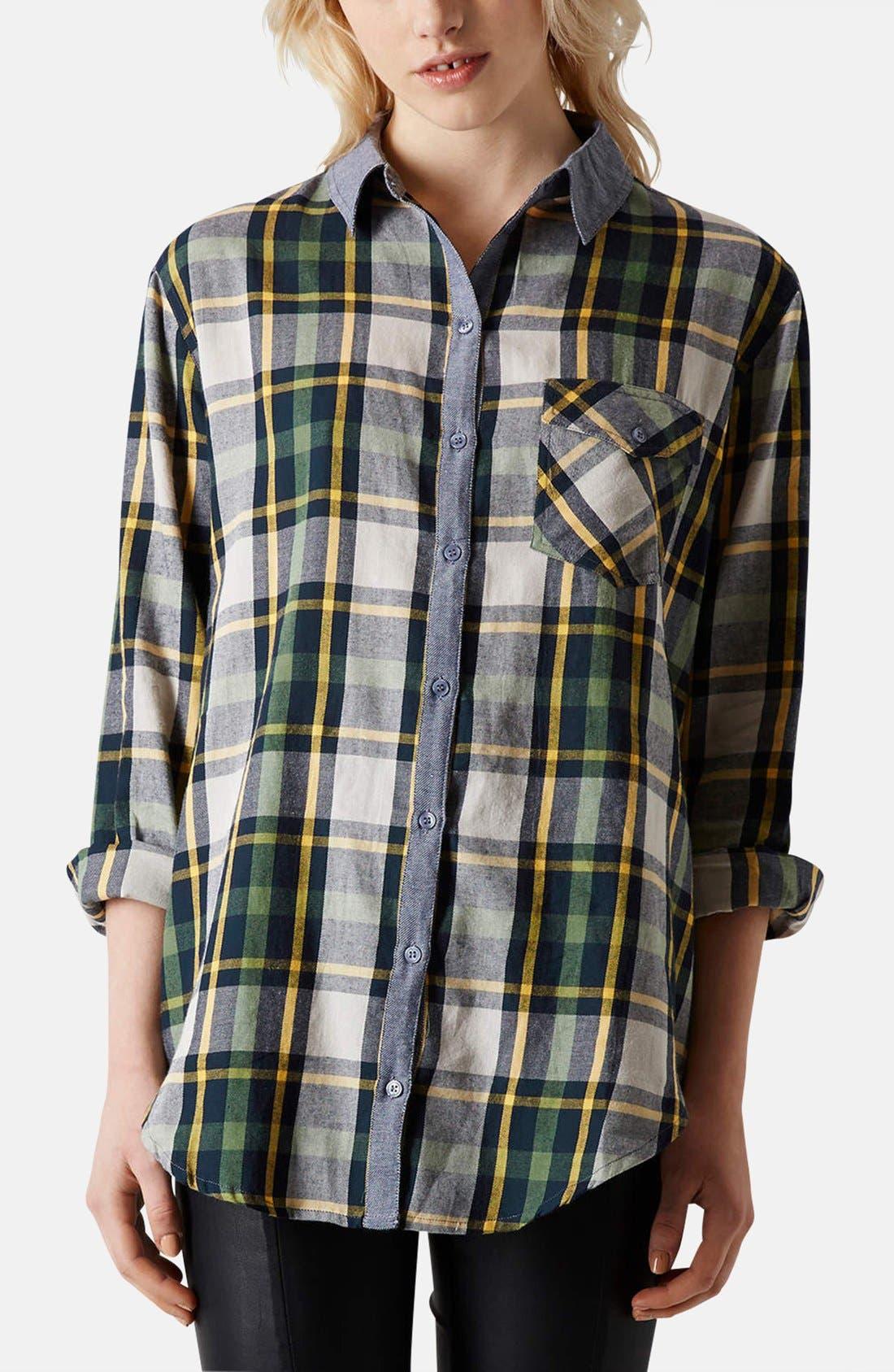 Main Image - Topshop 'Marvin' Oversized Plaid Shirt