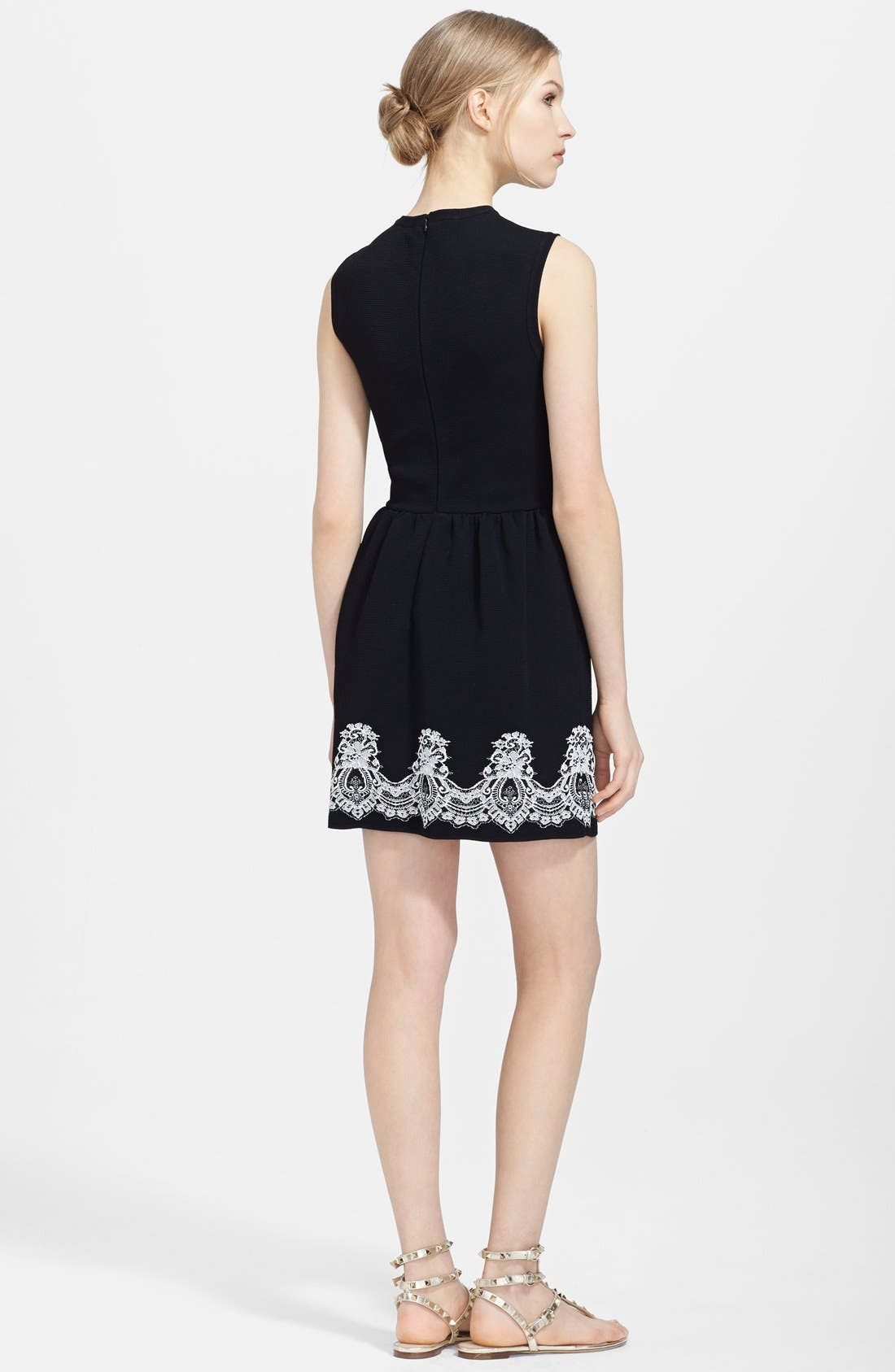 Alternate Image 2  - Valentino Lace Print Ribbed Dress