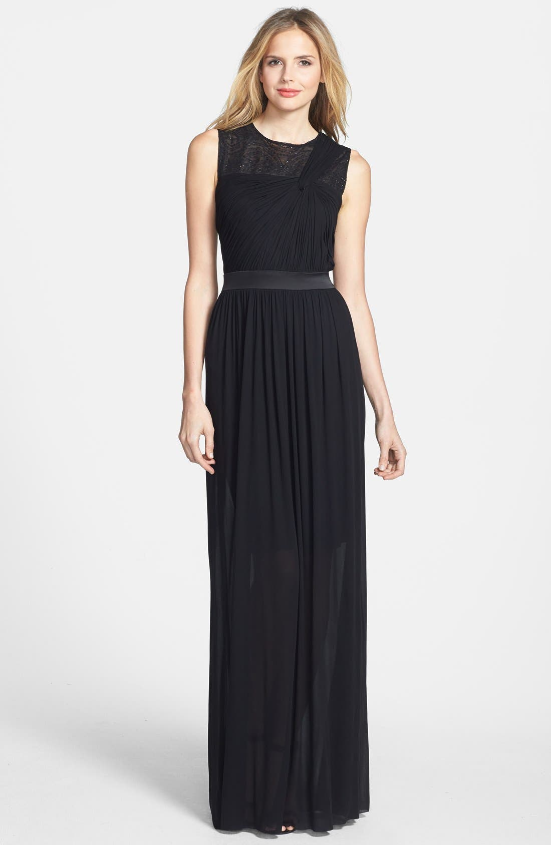 Main Image - Vera Wang Embellished Yoke Ruched Jersey Gown
