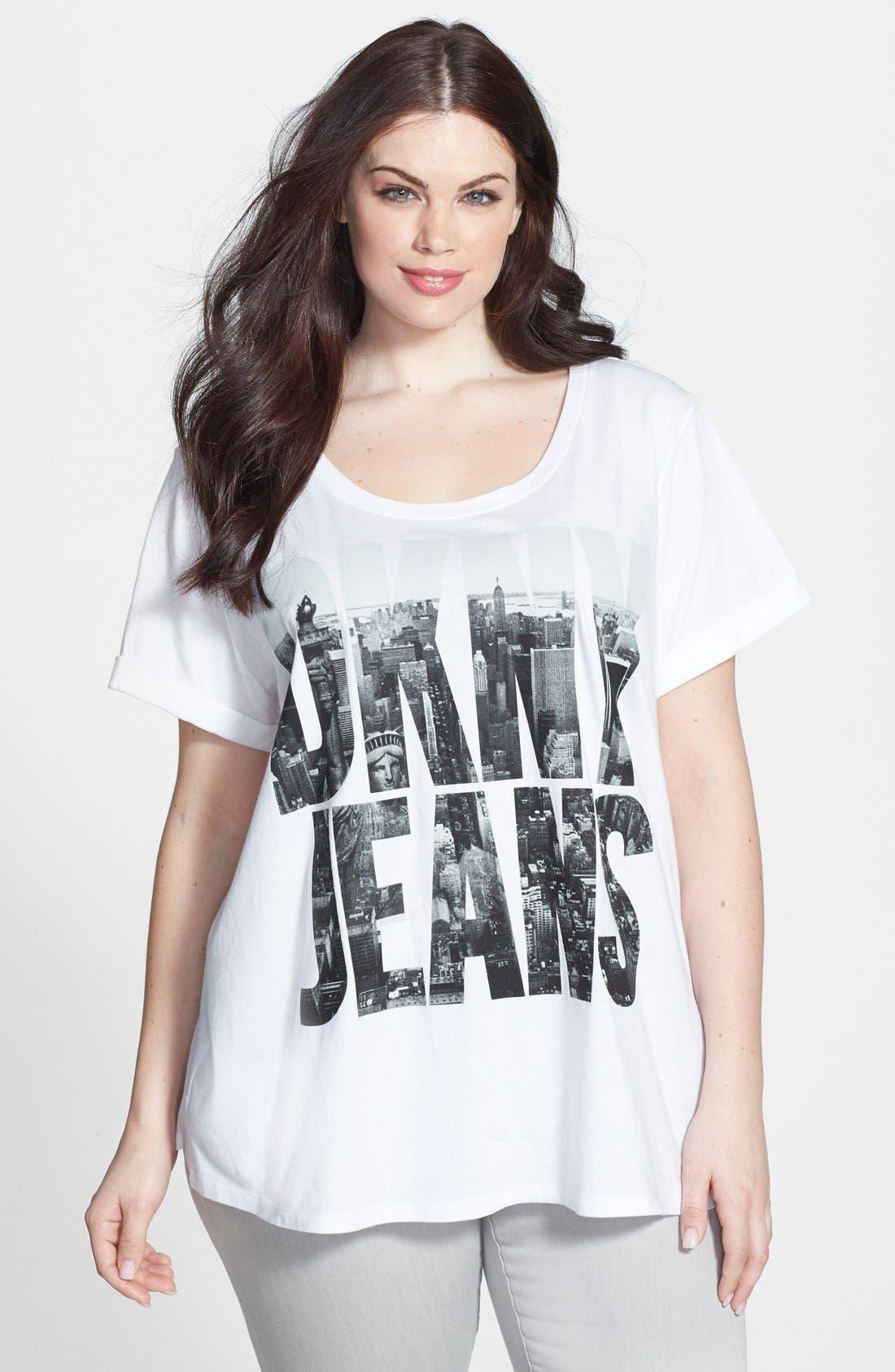 Alternate Image 1 Selected - DKNY 'Billboard Logo' Tee (Plus Size)