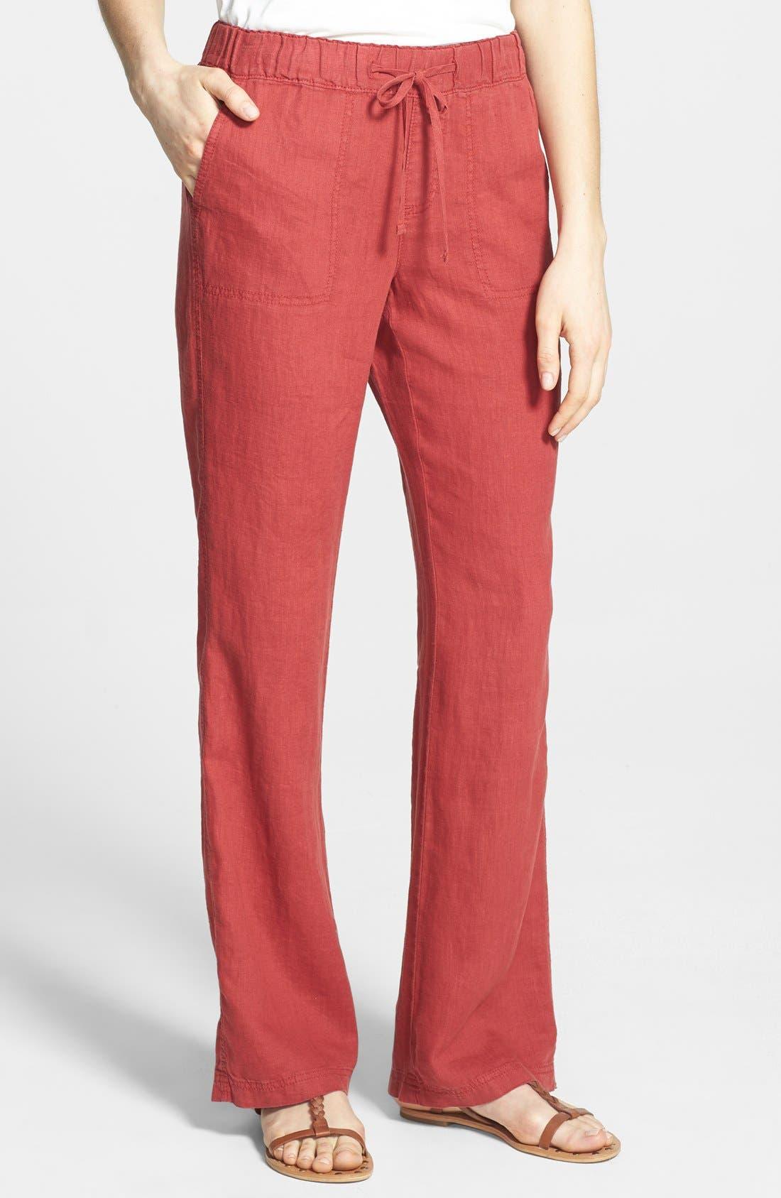 Alternate Image 1 Selected - Caslon® Drawstring Waist Linen Pants (Regular & Petite)