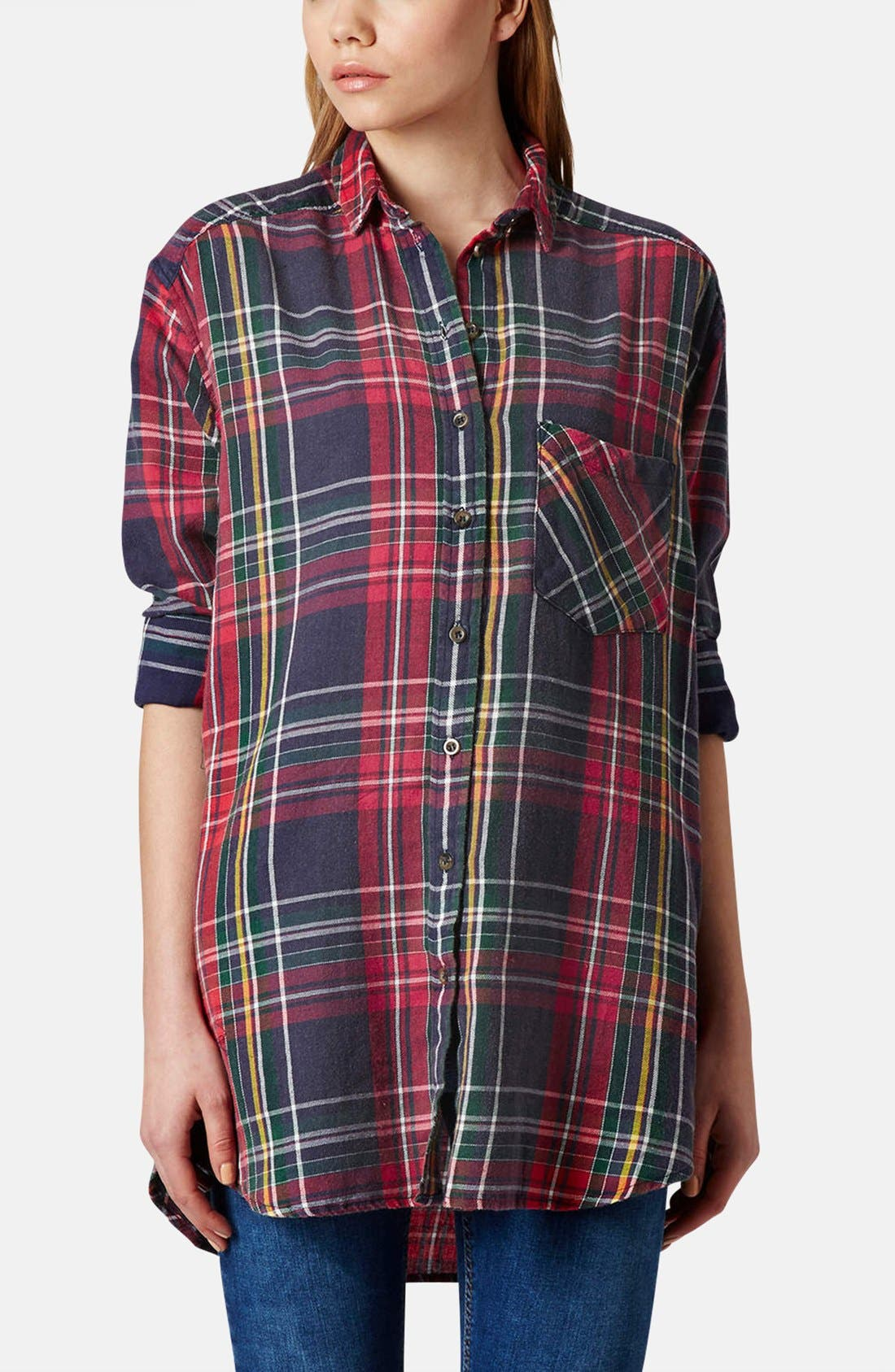 Main Image - Topshop Oversized Plaid Cotton Shirt