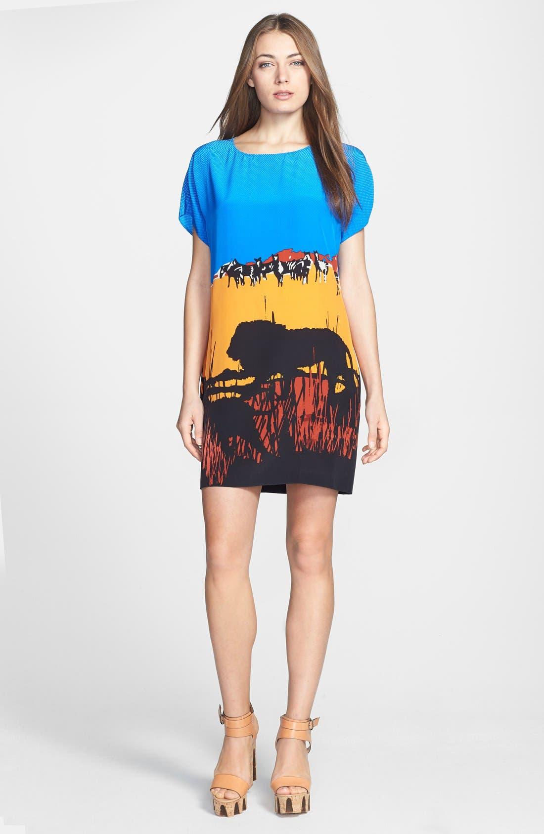 Alternate Image 1 Selected - Diane von Furstenberg 'Harriet' Graphic Silk Blend Shift Dress