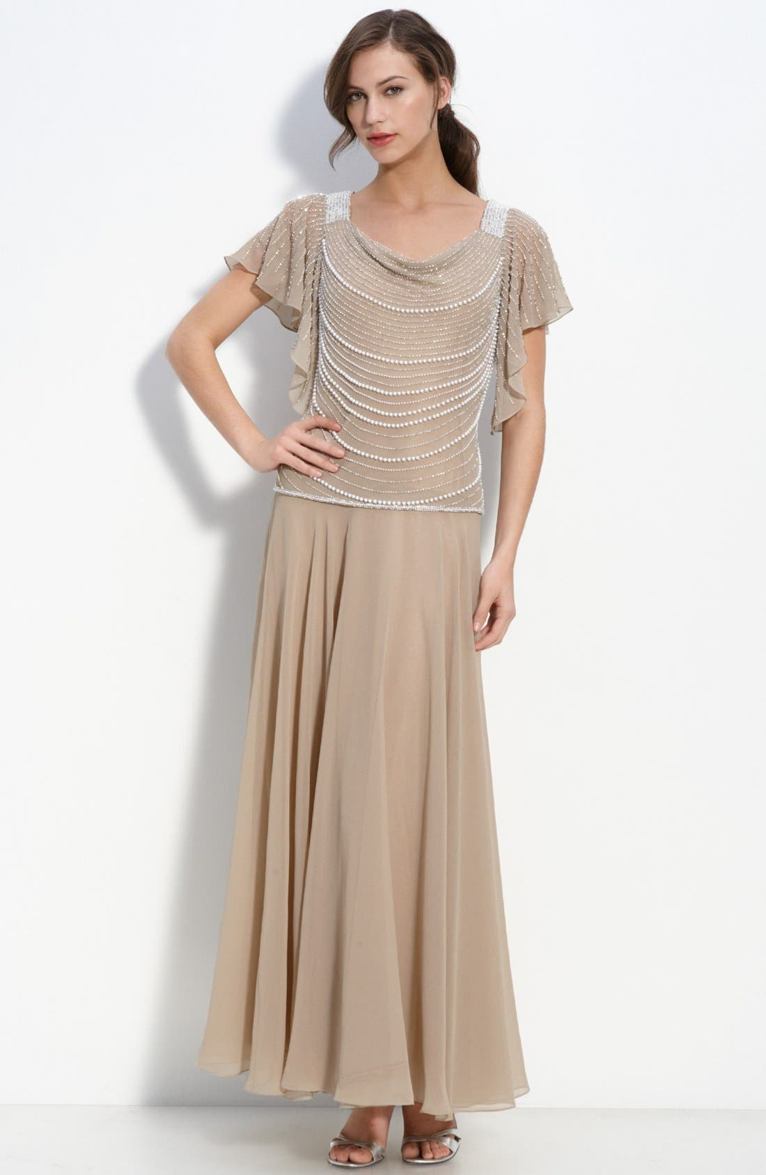 Main Image - J Kara Beaded Mock Two-Piece Crepe Dress