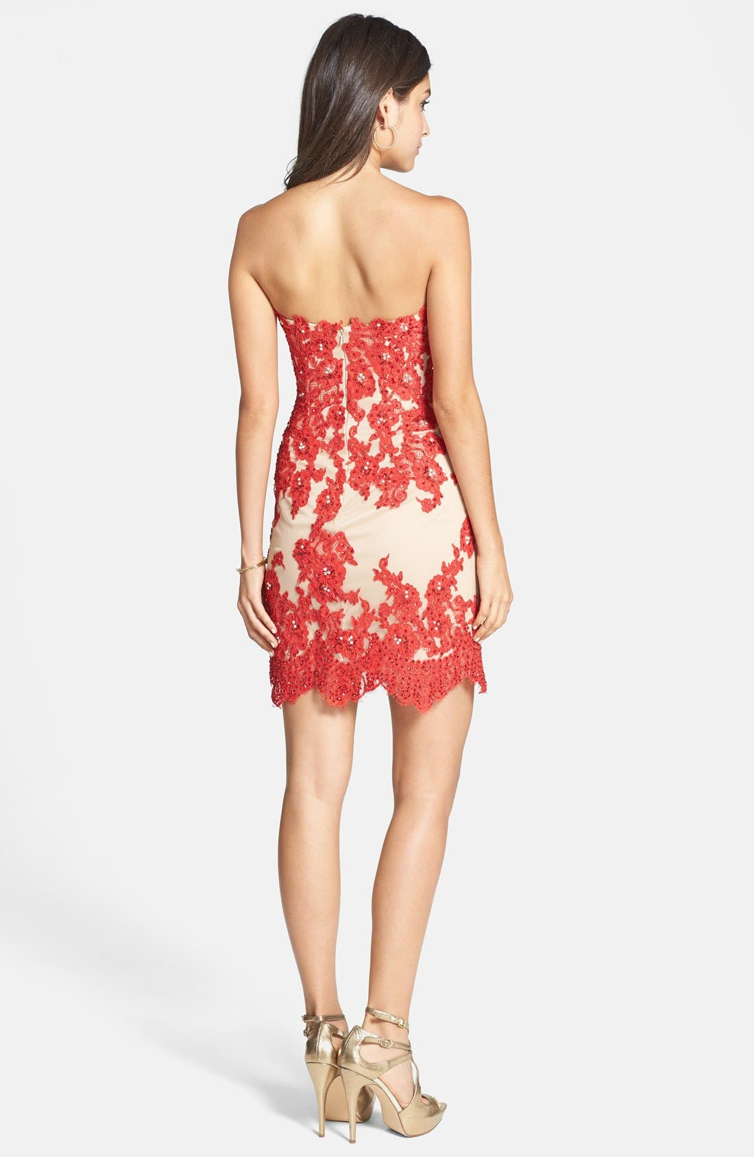 Alternate Image 2  - Sherri Hill Embellished Lace & Tulle Strapless Body-Con Dress