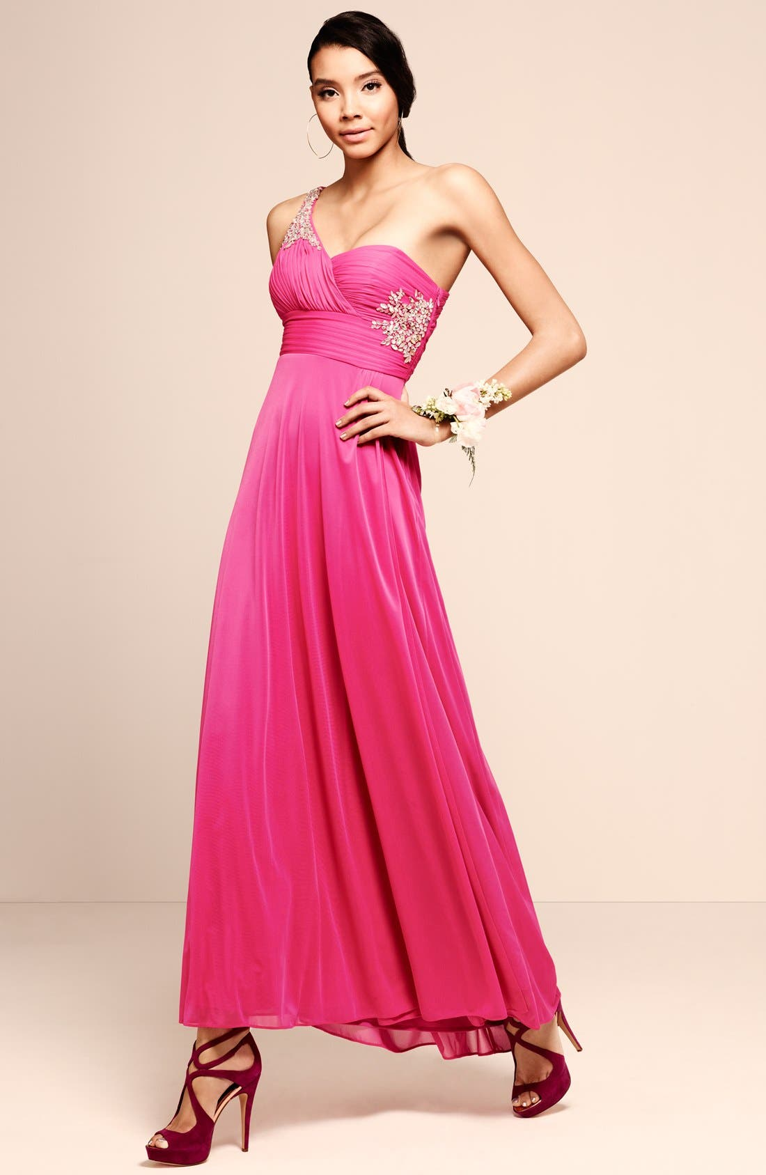Alternate Image 5  - Hailey by Adrianna Papell Embellished One-Shoulder Chiffon Gown