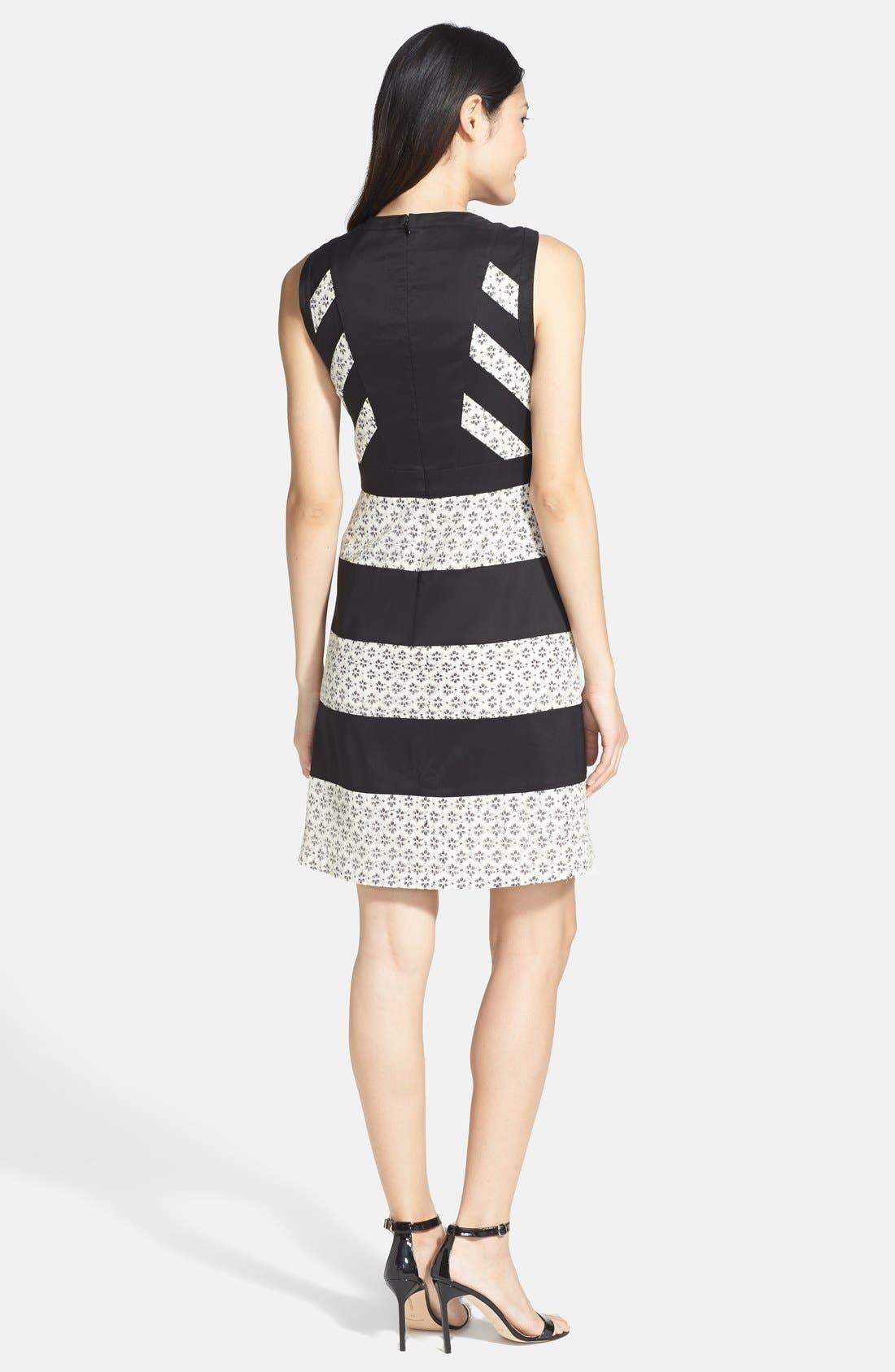 Alternate Image 2  - Ivy & Blu Mixed Media Stripe Cotton Blend Dress