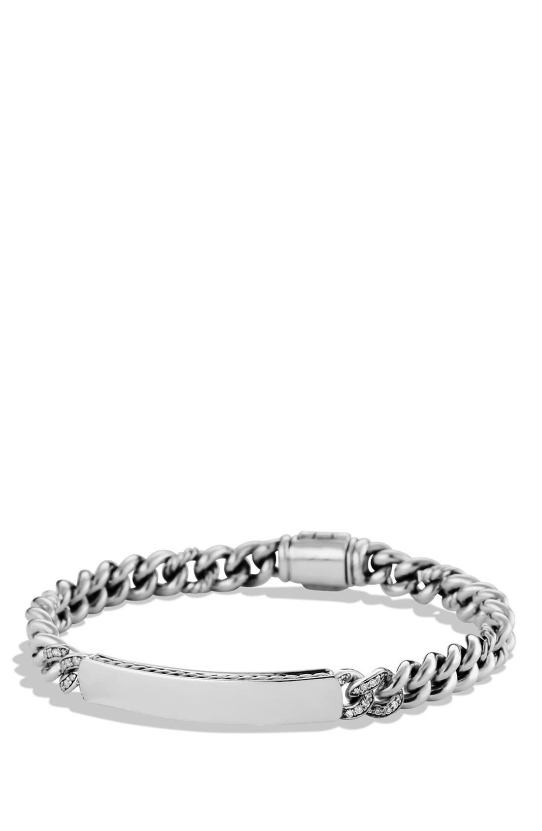 'Petite Pavé' Curb Link ID Bracelet with Diamonds,                         Main,                         color, Diamond/ Silver