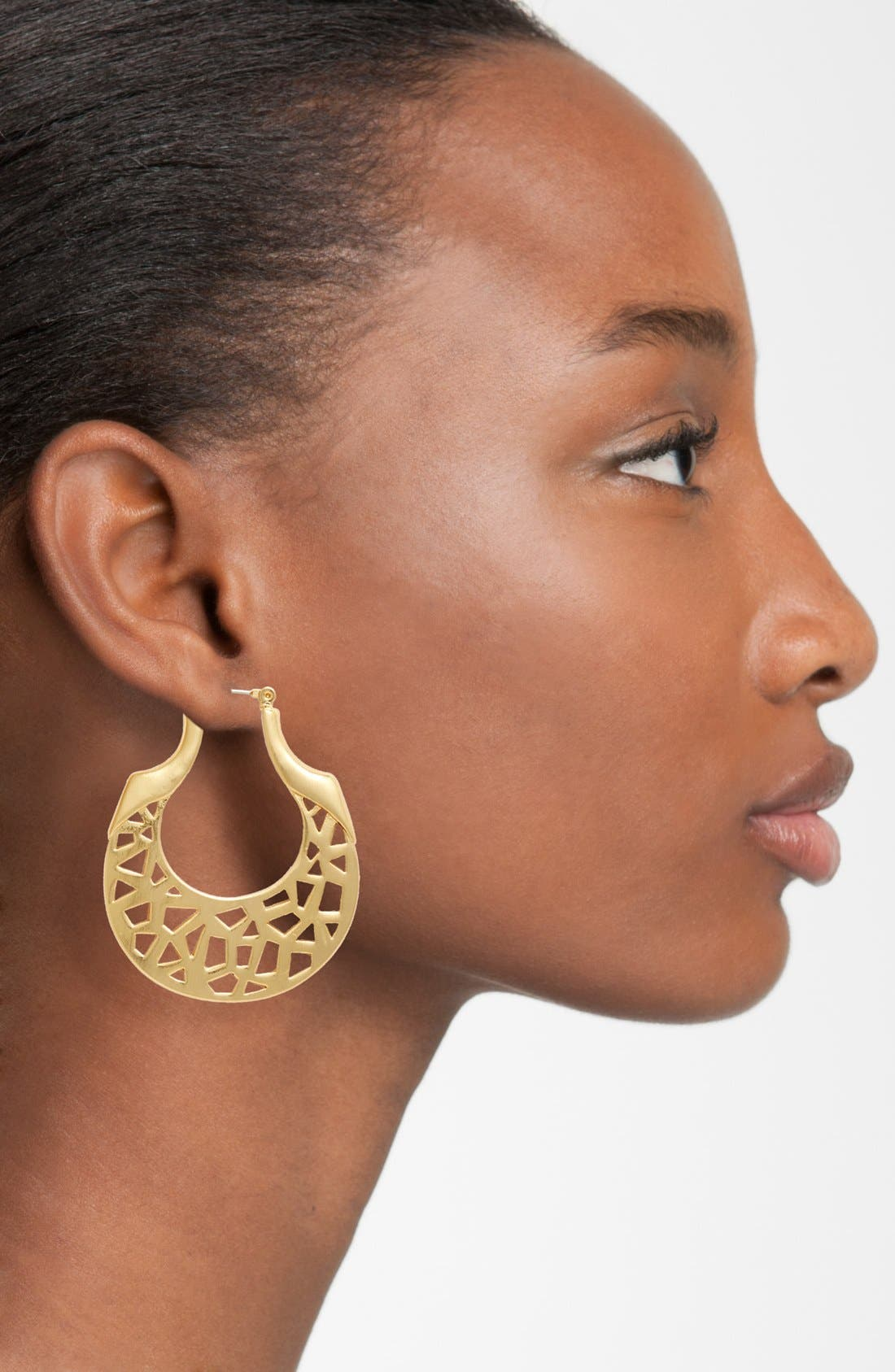 Alternate Image 2  - Vince Camuto 'Mosaic Cut Out' Hoop Earrings