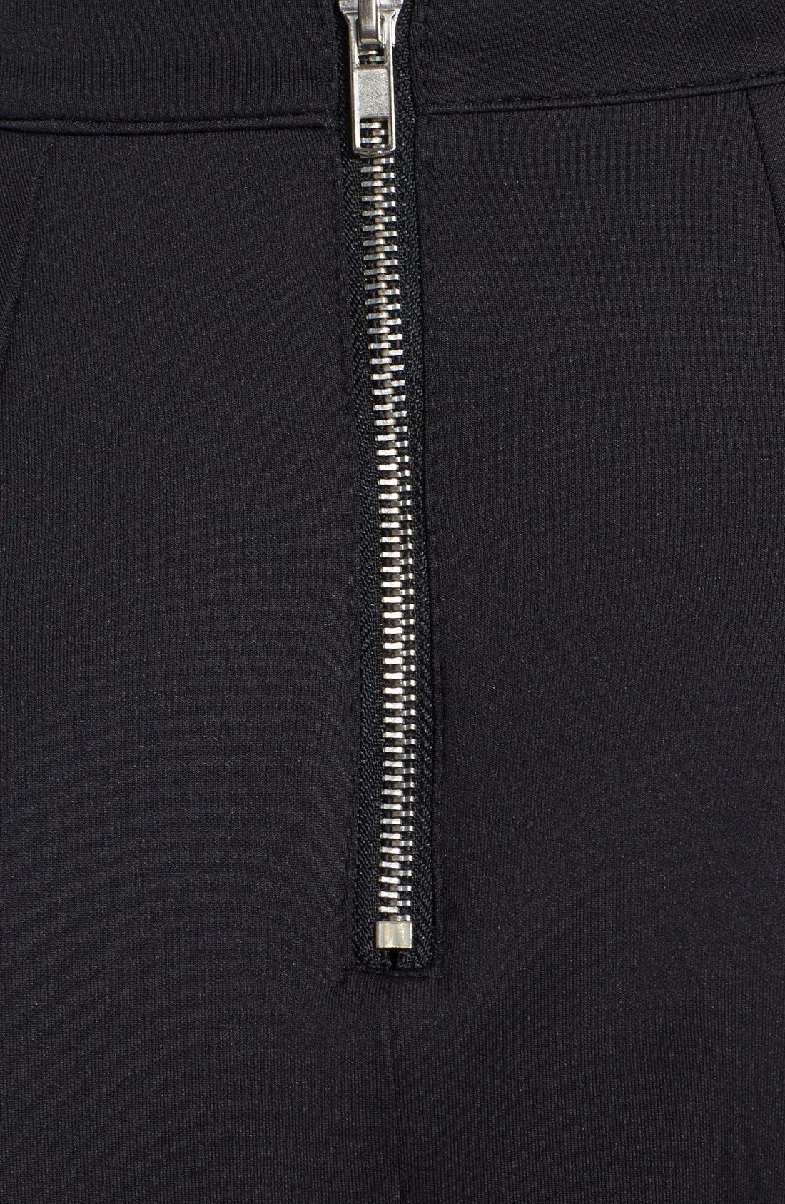 Pleat Jersey Skater Skirt,                             Alternate thumbnail 3, color,                             Black