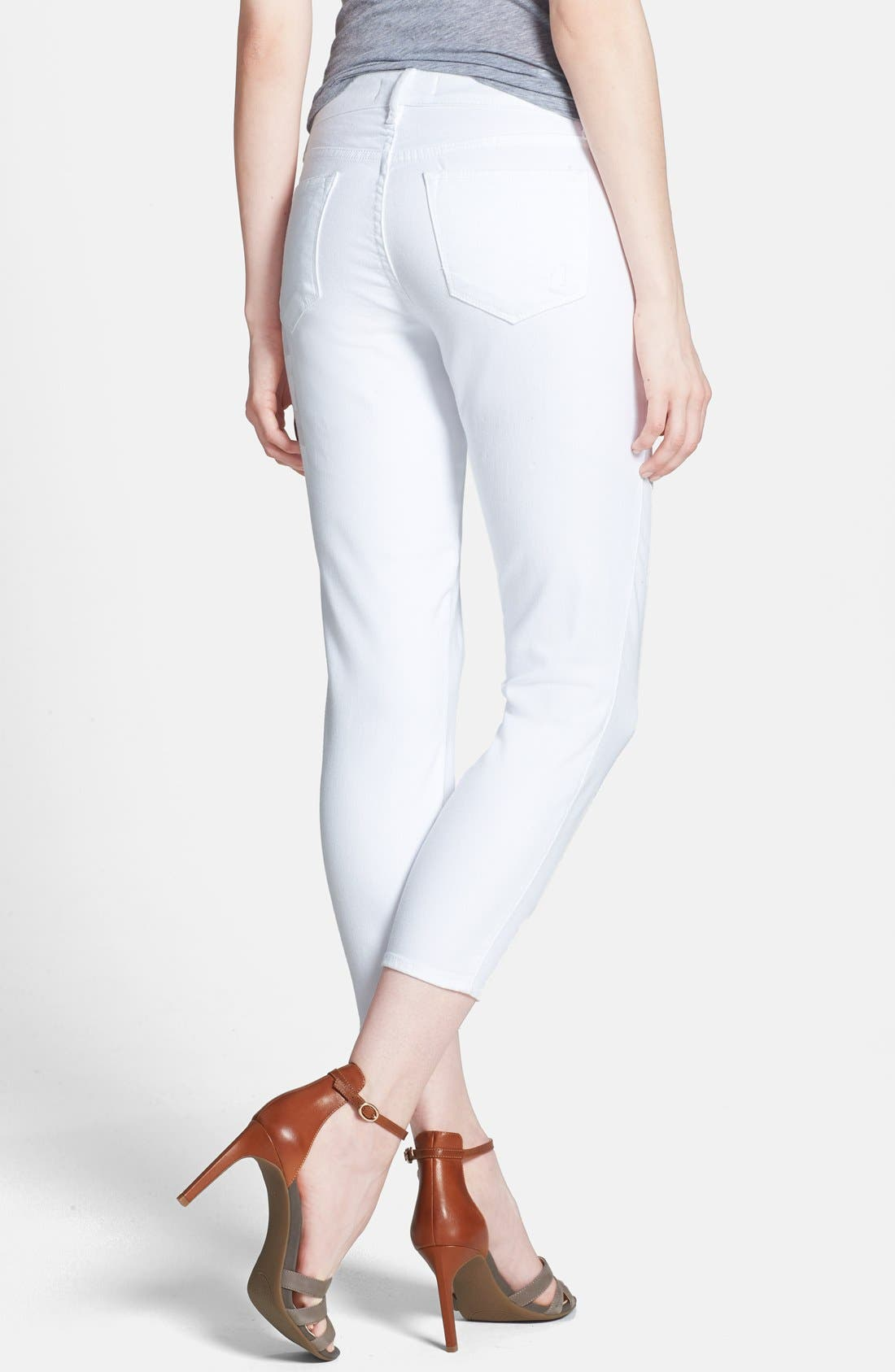 'Believe' Stretch Twill Crop Leggings,                             Alternate thumbnail 2, color,                             Optic White