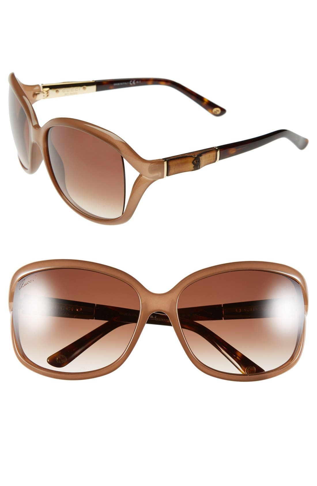 Main Image - Gucci 61mm Oversized Bamboo Temple Sunglasses