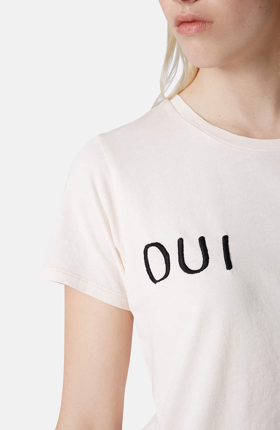 Alternate Image 4  - Topshop 'Oui Non' Embroidered Cotton Tee
