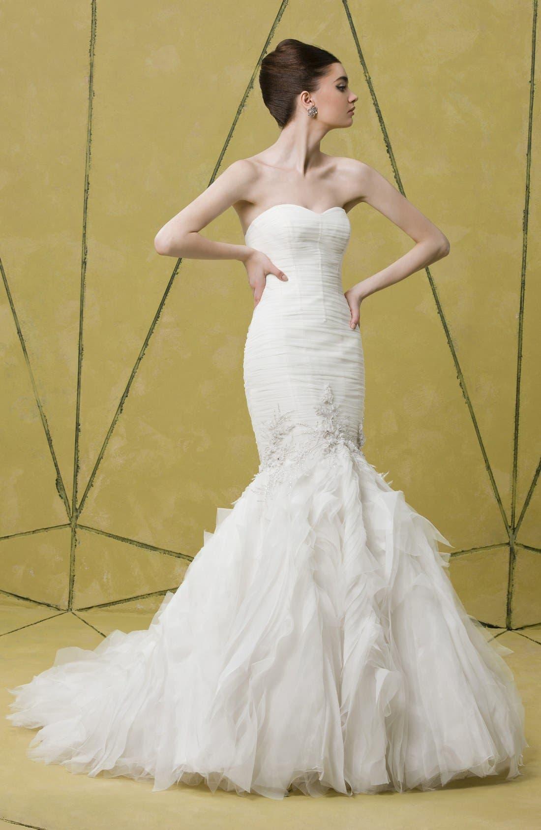 Alternate Image 4  - Badgley Mischka Bridal 'Bridgette' Embellished Tulle Mermaid Dress (In Stores Only)