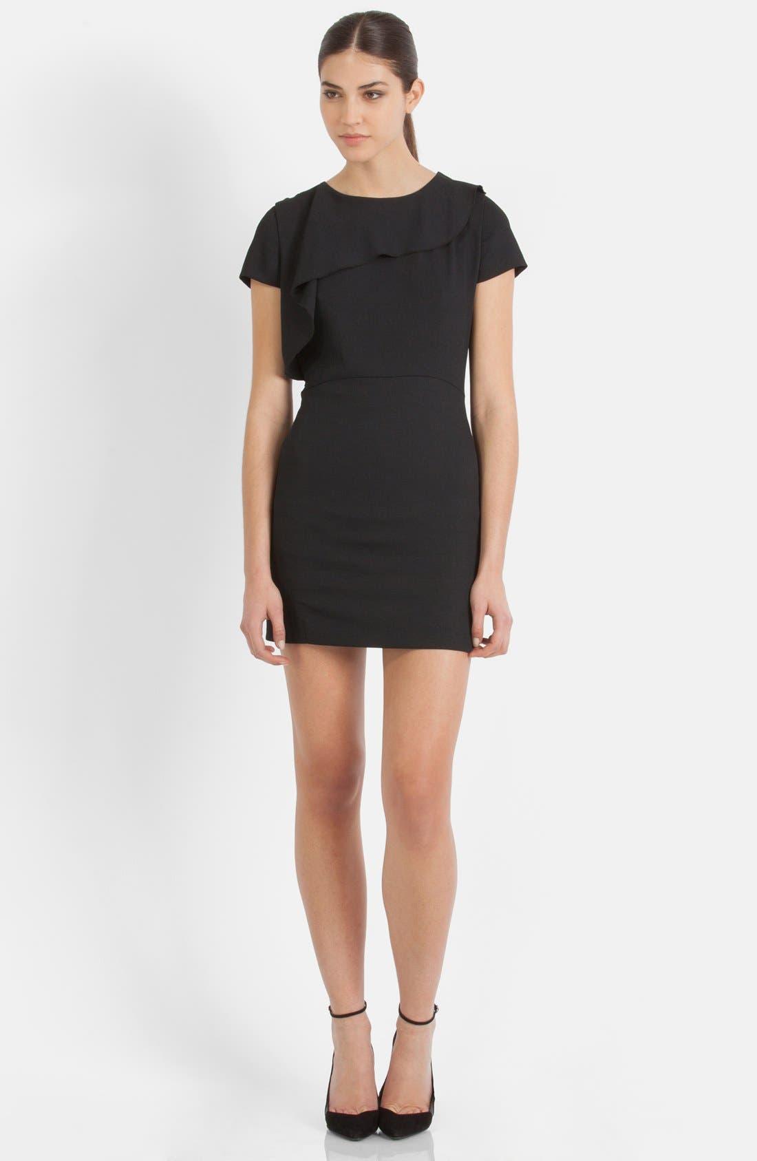 Main Image - maje Asymmetrical Flounce Sheath Dress