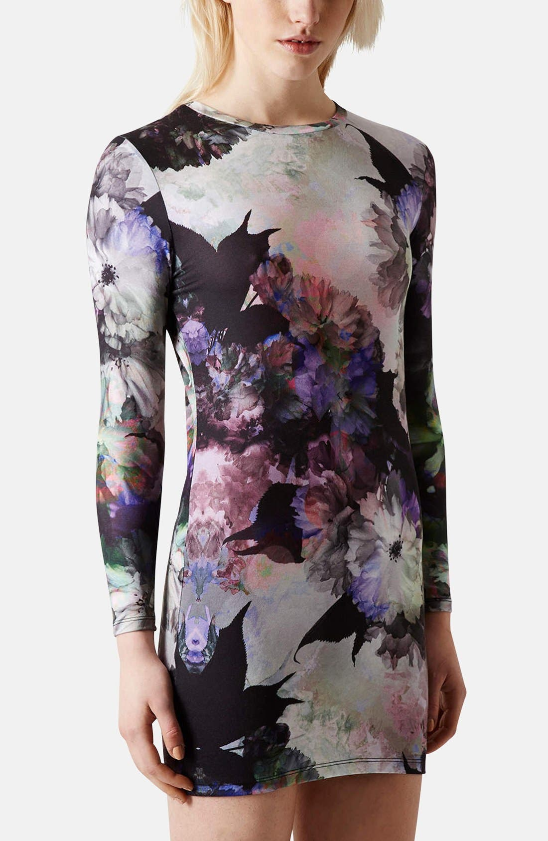Main Image - Topshop Floral Print Body-Con Dress (Petite)
