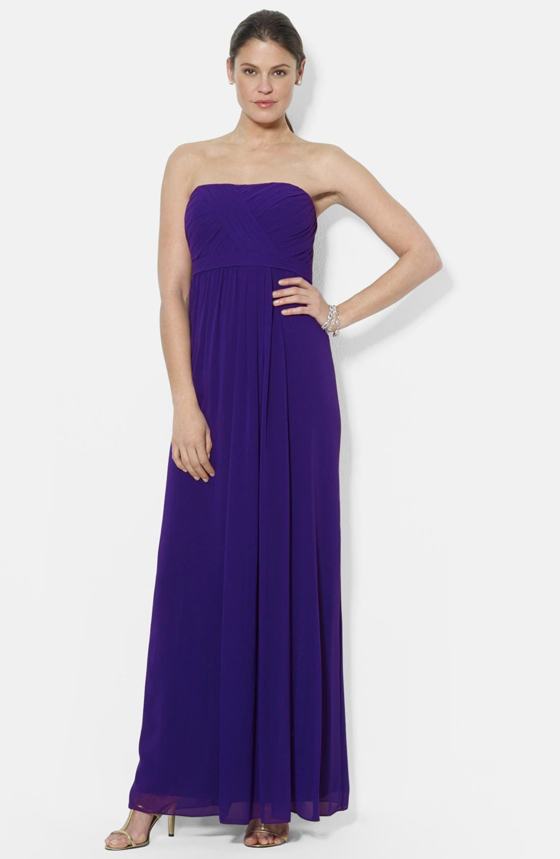 Alternate Image 1 Selected - Lauren Ralph Lauren Strapless Gathered Empire Gown