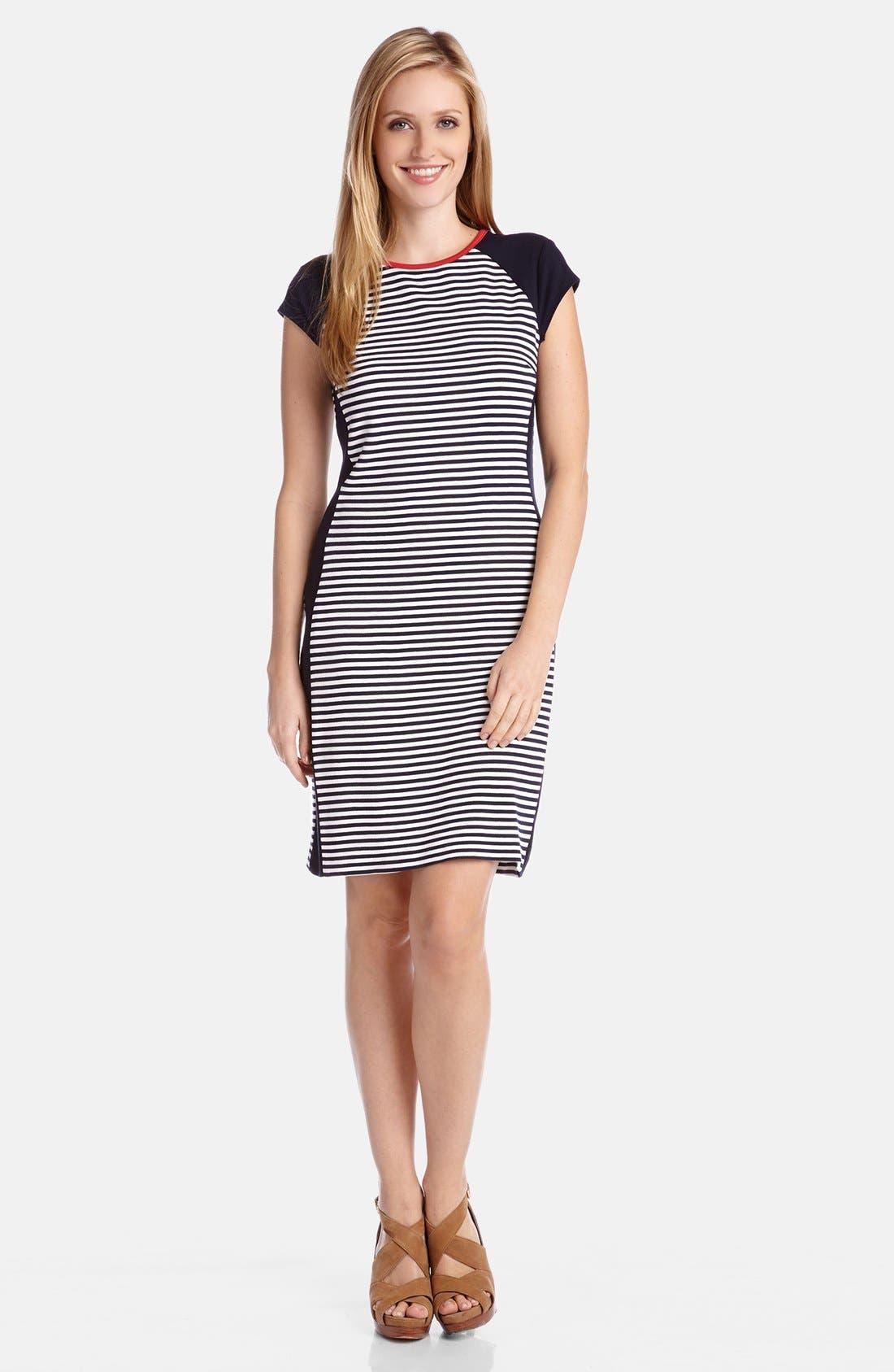 Alternate Image 1 Selected - Karen Kane Colorblock Stripe Knit Sheath Dress