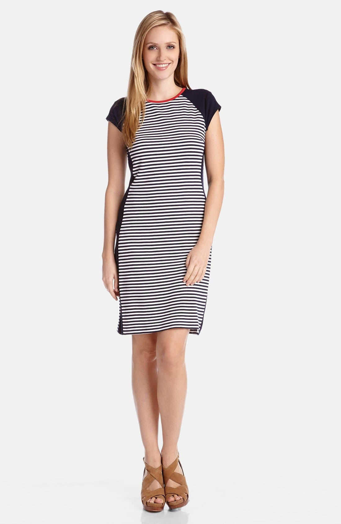 Main Image - Karen Kane Colorblock Stripe Knit Sheath Dress