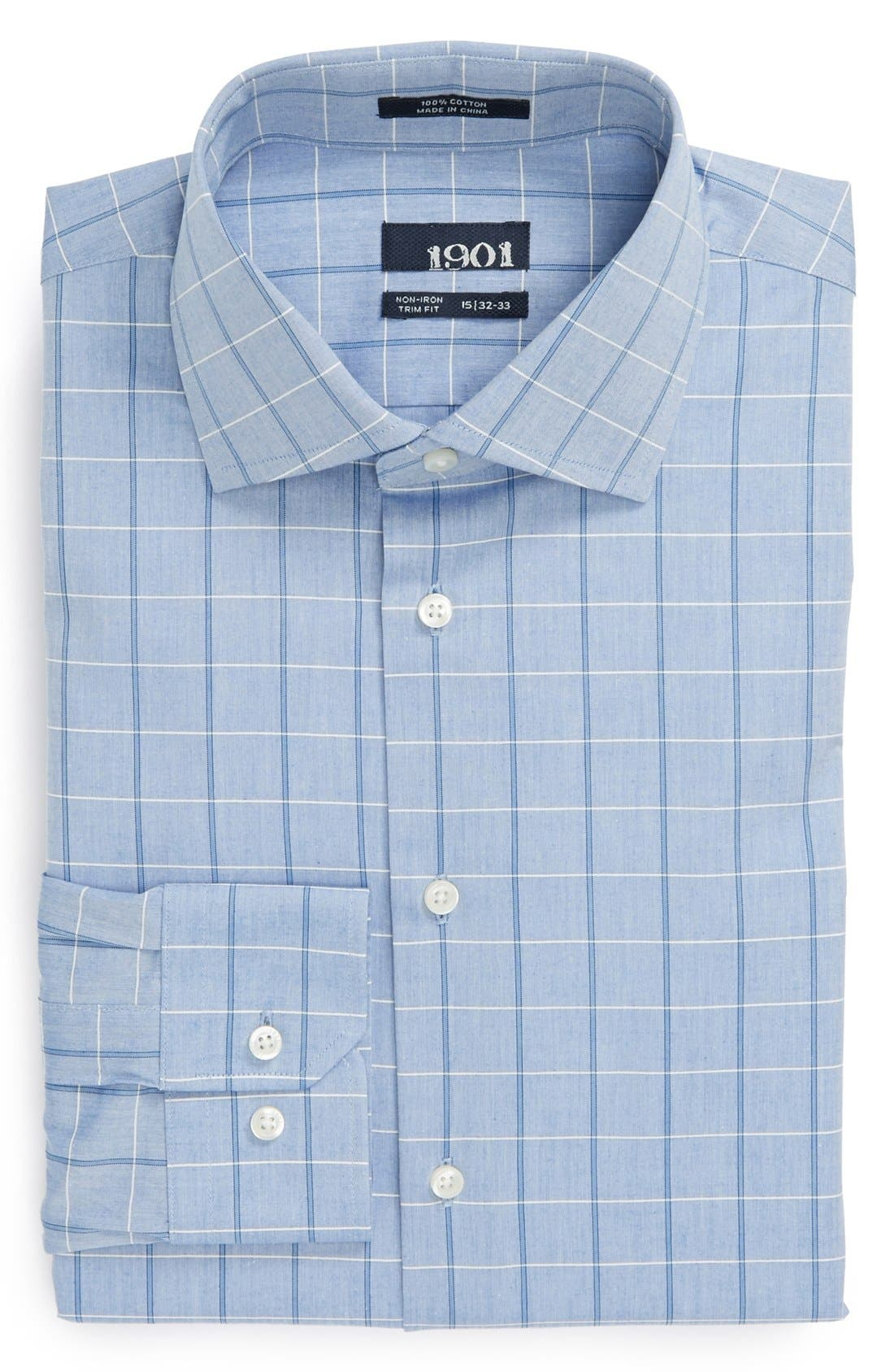 Main Image - 1901 Trim Fit Non-Iron Check Dress Shirt