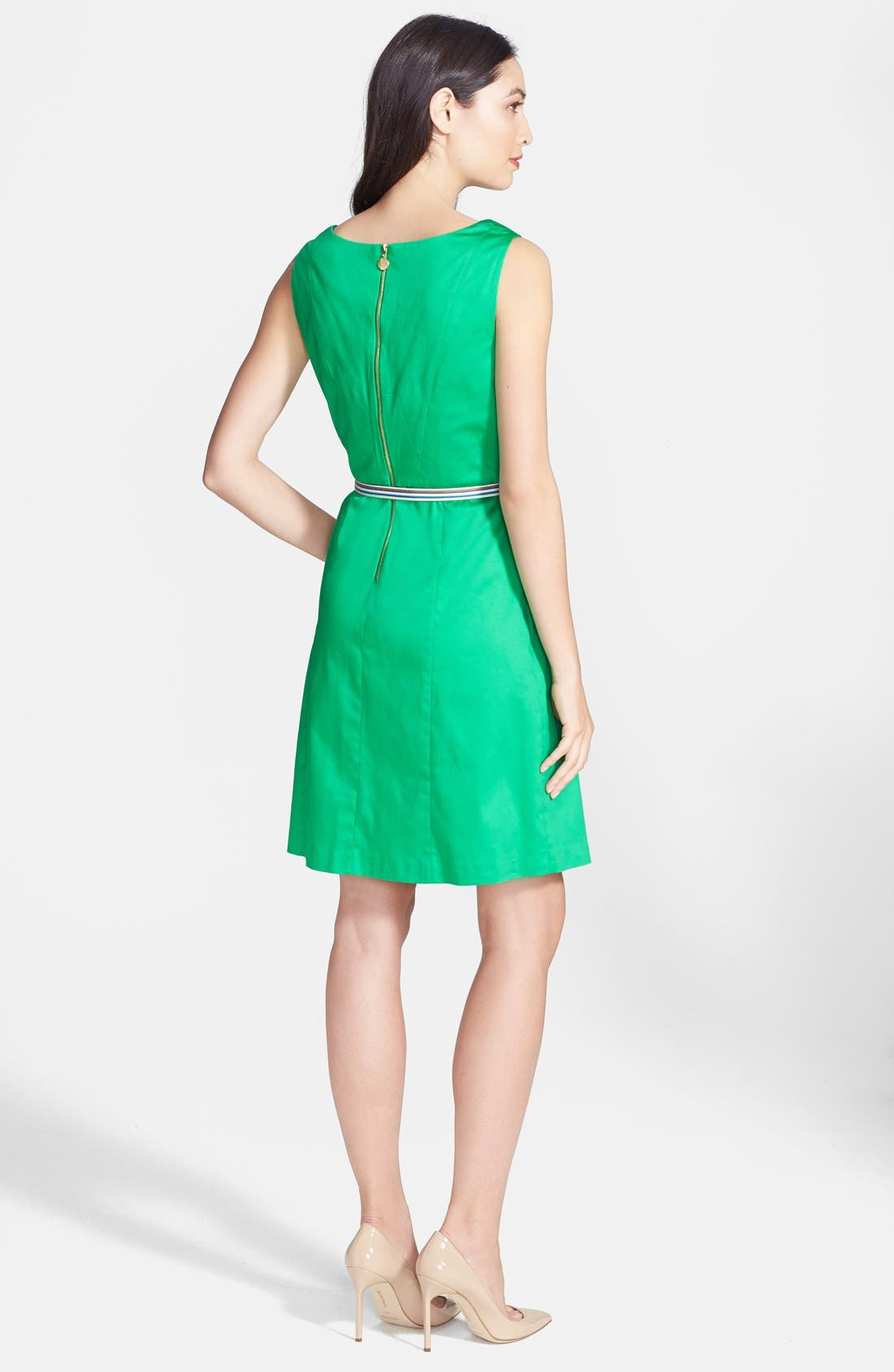 Alternate Image 3  - Ellen Tracy Sleeveless Origami Pleat Stretch Cotton Fit & Flare Dress