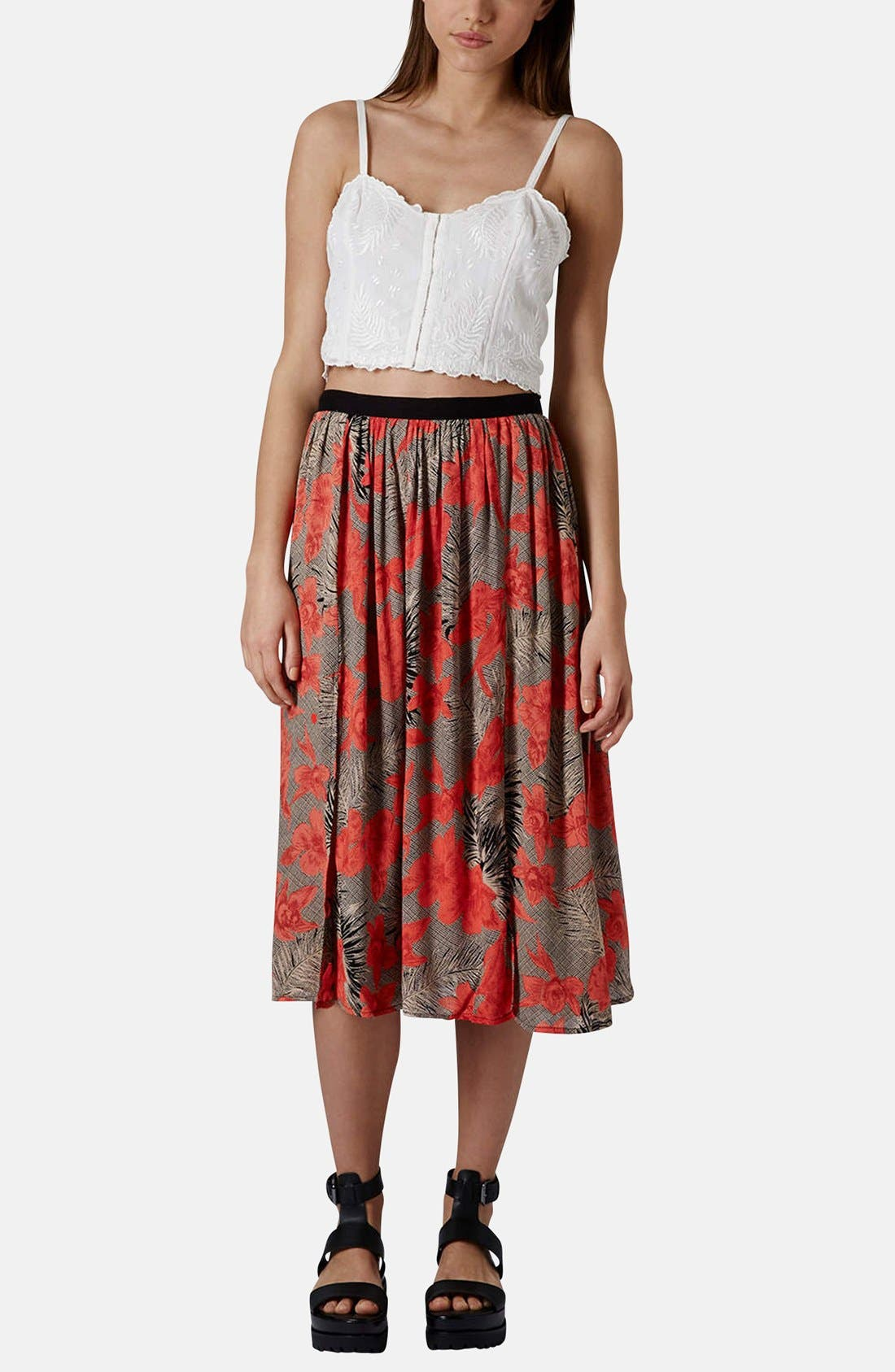 Floral Split Midi Skirt,                             Alternate thumbnail 5, color,                             Tan Multi