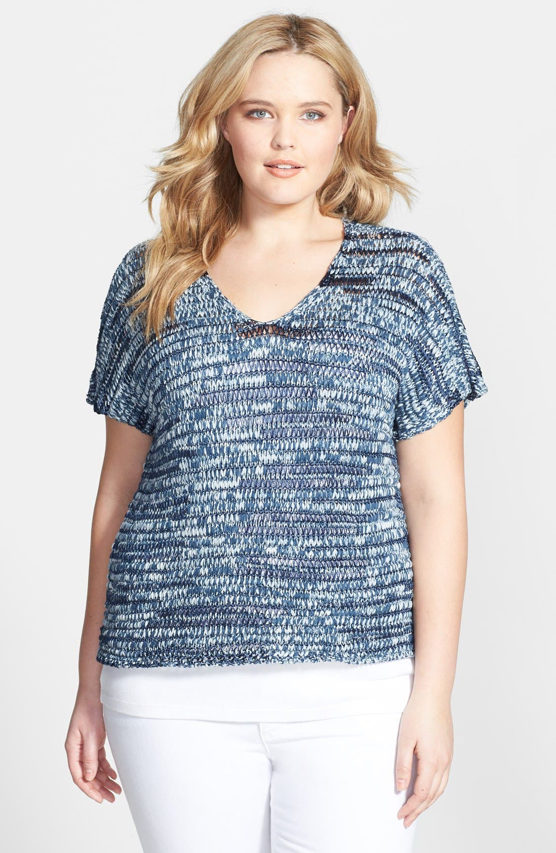 Alternate Image 1 Selected - Eileen Fisher V-Neck  Short Sleeve Cotton Blend Shaped Top (Plus Size)
