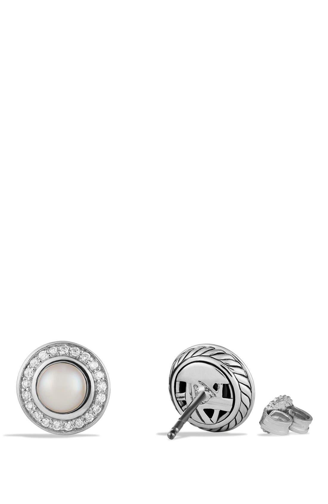 'Cerise' Mini Earrings with Semiprecious Stone & Diamonds,                             Alternate thumbnail 2, color,                             Pearl