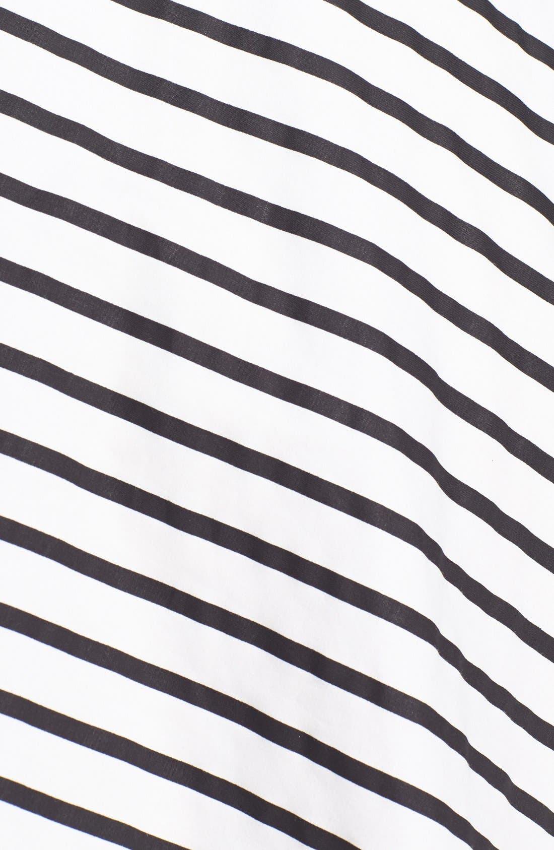 Back Cutout Stripe Cotton Sateen Fit & Flare Dress,                             Alternate thumbnail 4, color,                             Black/ White