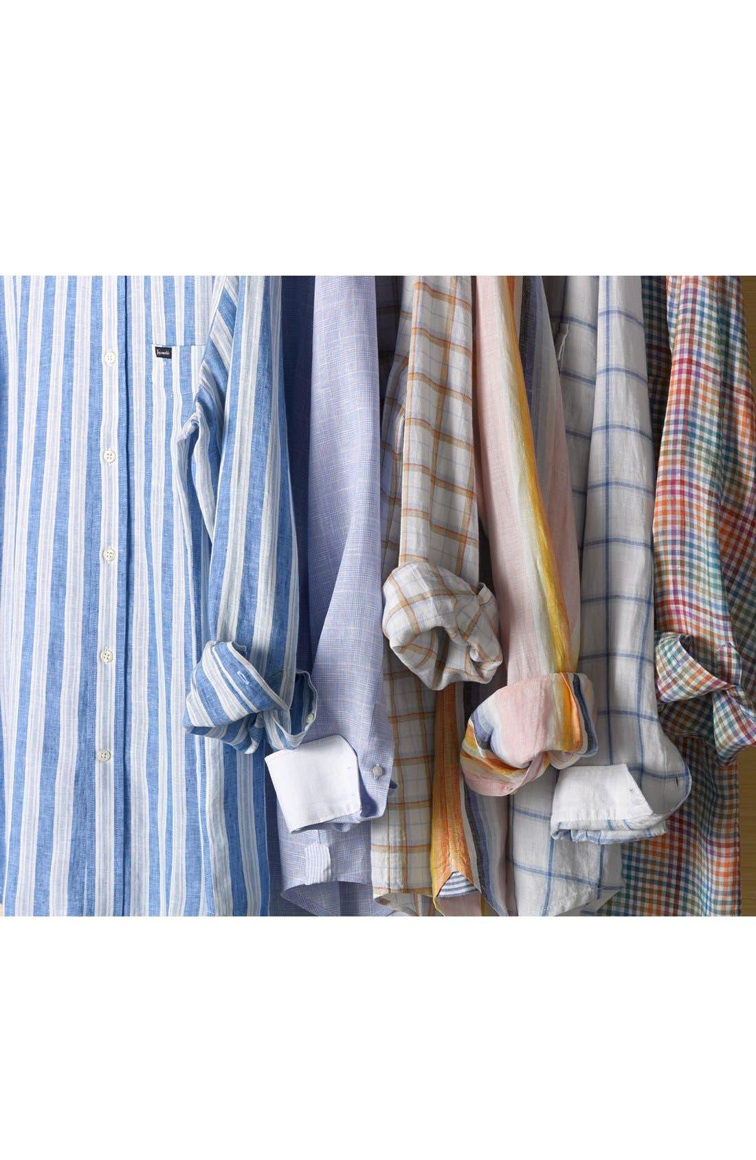 Alternate Image 4  - Façonnable 'Azur' Club Fit Stripe Linen Sport Shirt