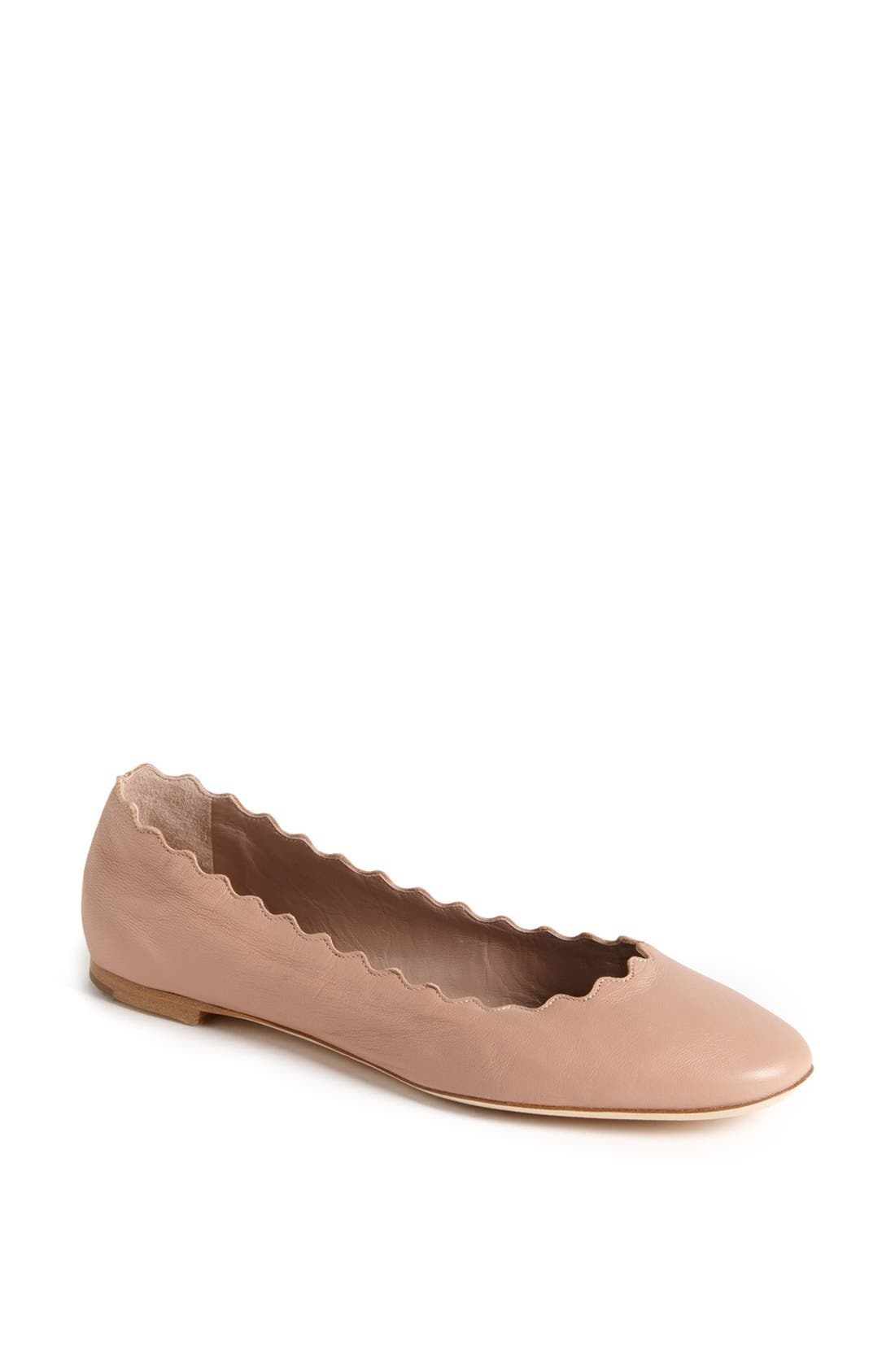 'Lauren' Scalloped Ballet Flat,                             Main thumbnail 1, color,                             Taupe