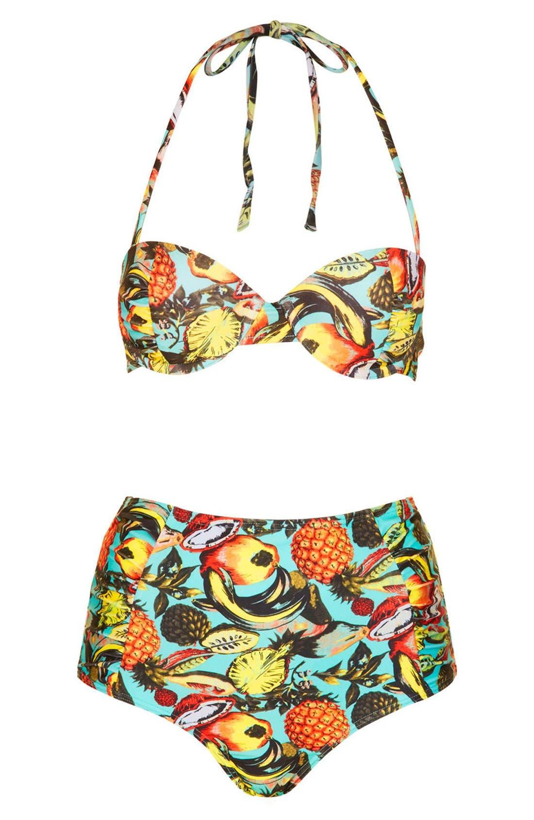 Main Image - Topshop Tropical Print High Rise Bikini