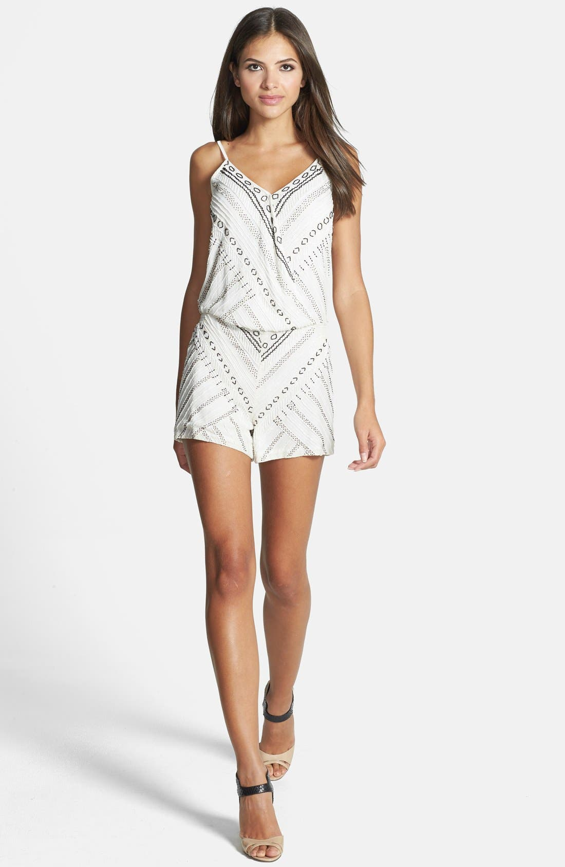 Alternate Image 1 Selected - Parker 'Harrison' Surplice Beaded Romper