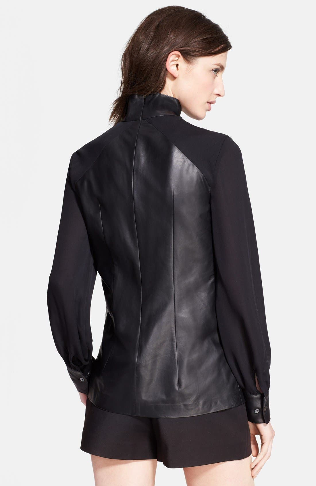 Alternate Image 2  - Tamara Mellon Leather & Silk Georgette Blouse