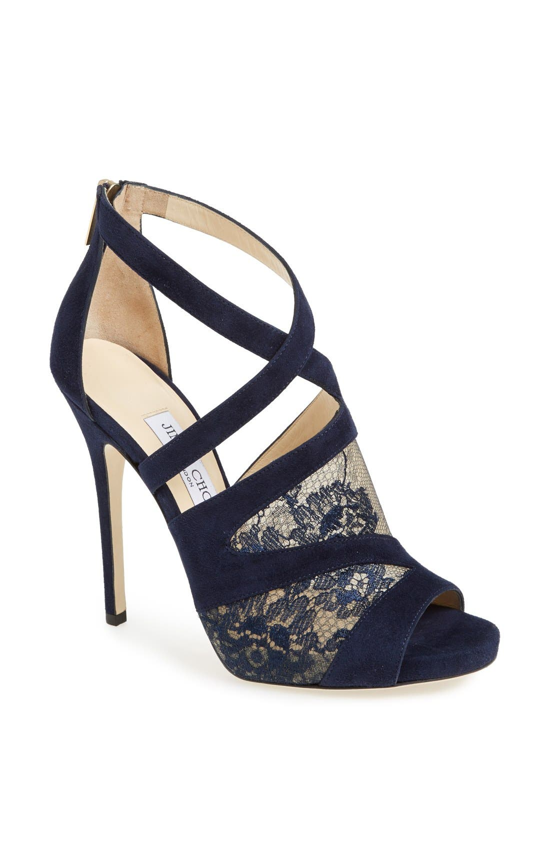 Alternate Image 1 Selected - Jimmy Choo 'Vantage' Suede & Lace Sandal