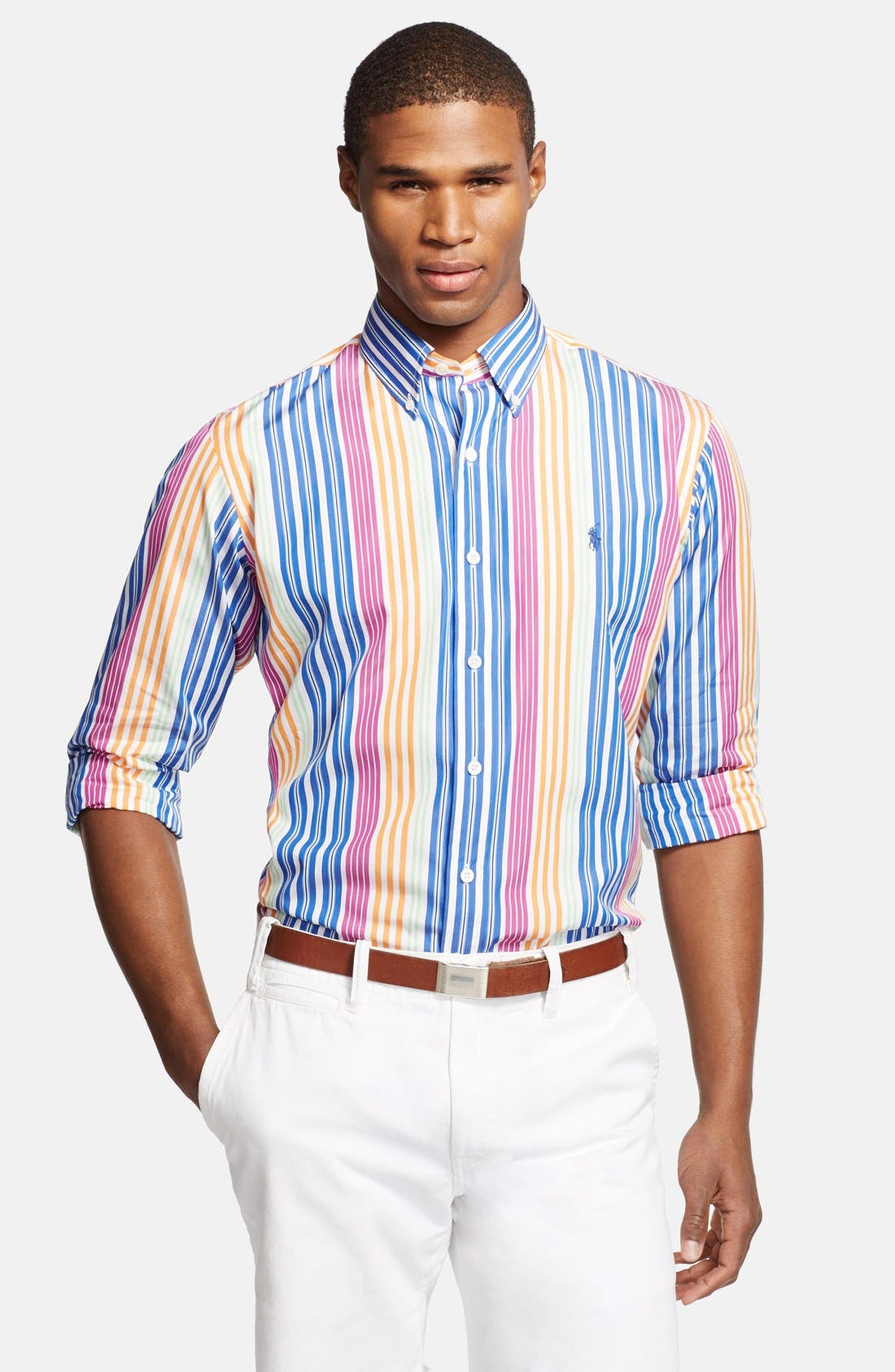Main Image - Polo Ralph Lauren Custom Fit Stripe Sport Shirt