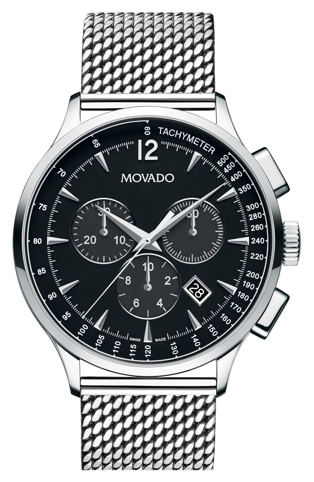 MOVADO Circa Chronograph Mesh Strap Watch, 42mm