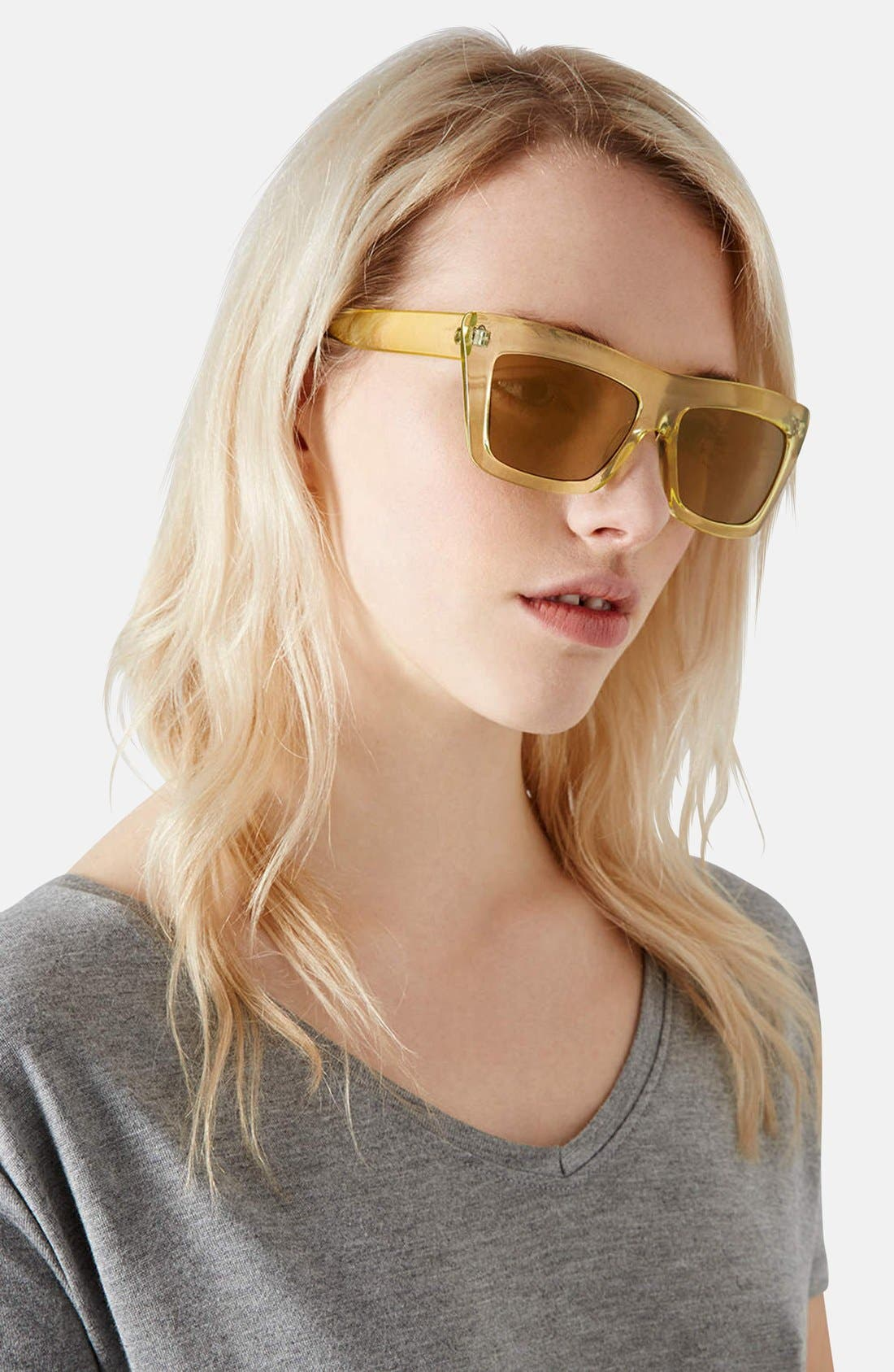 Alternate Image 2  - Topshop 'Wicked' 55mm Clear Frame Sunglasses