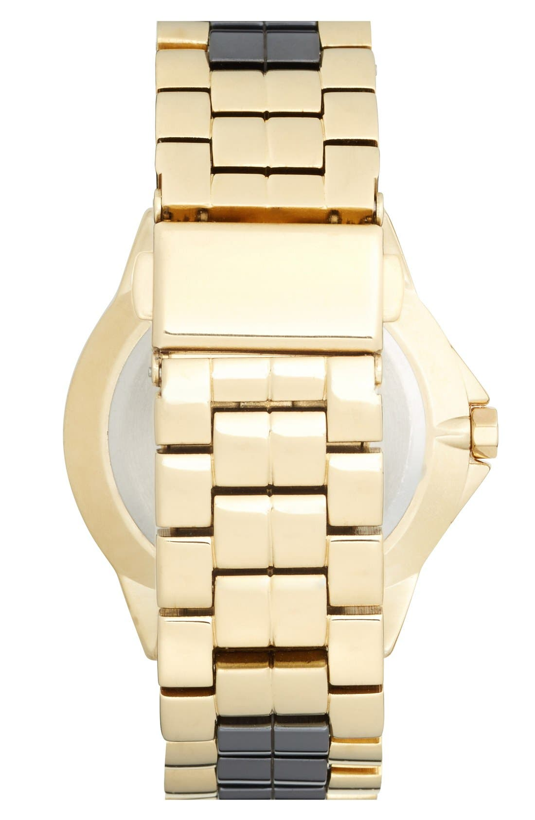 Alternate Image 2  - Anne Klein Crystal Bezel Ceramic Link Bracelet Watch, 36mm