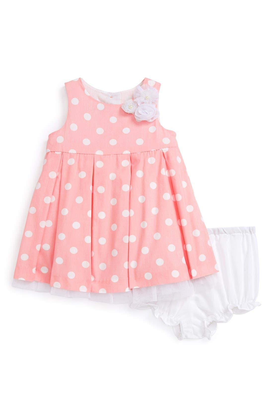 Main Image - Pippa & Julie Polka Dot Dress & Bloomers (Baby Girl)