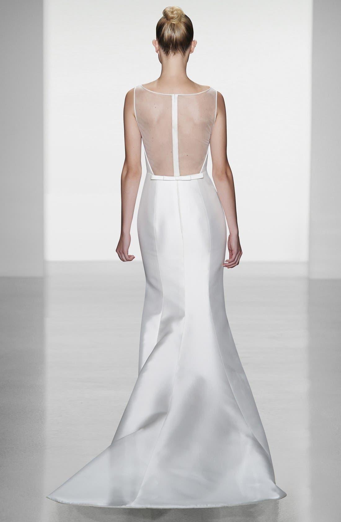 Alternate Image 5  - Amsale Preston Silk Magnolia Sheath Wedding Dress