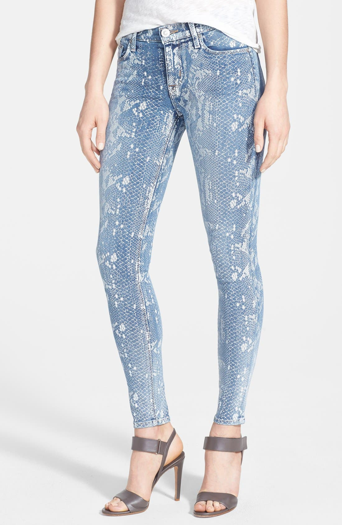 Alternate Image 1 Selected - Hudson Jeans 'Nico' Print Skinny Stretch Jeans (Copperhead)