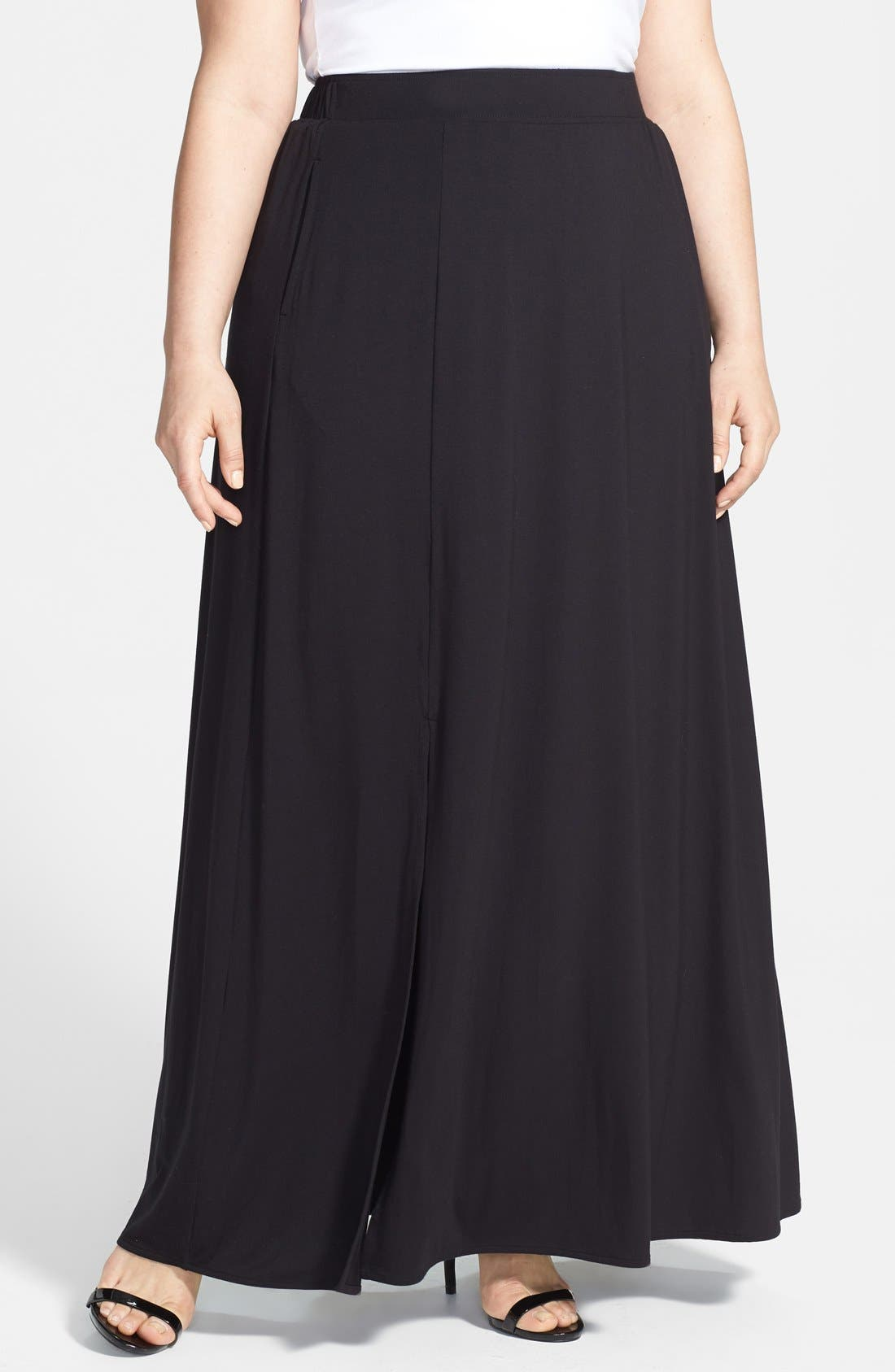 Alternate Image 1 Selected - Sejour Stretch A-Line Maxi Skirt (Plus Size)