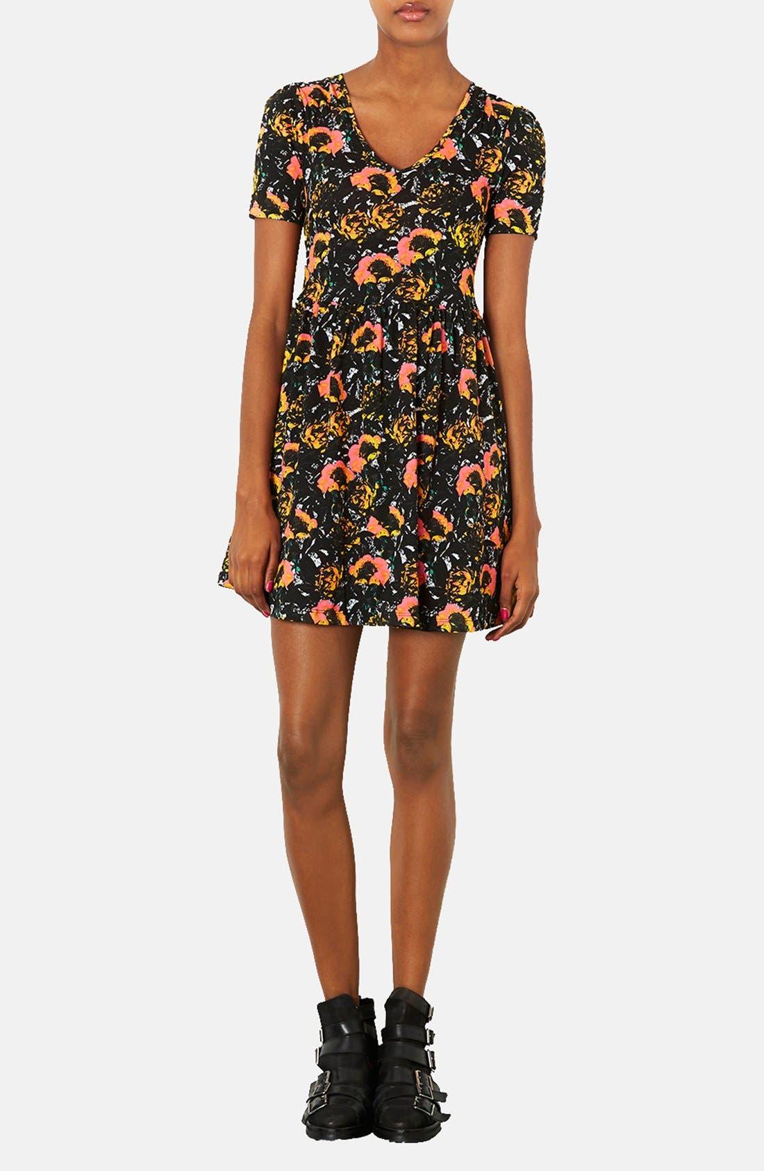 Alternate Image 1 Selected - Topshop 'Ochre Poppy' Skater Dress